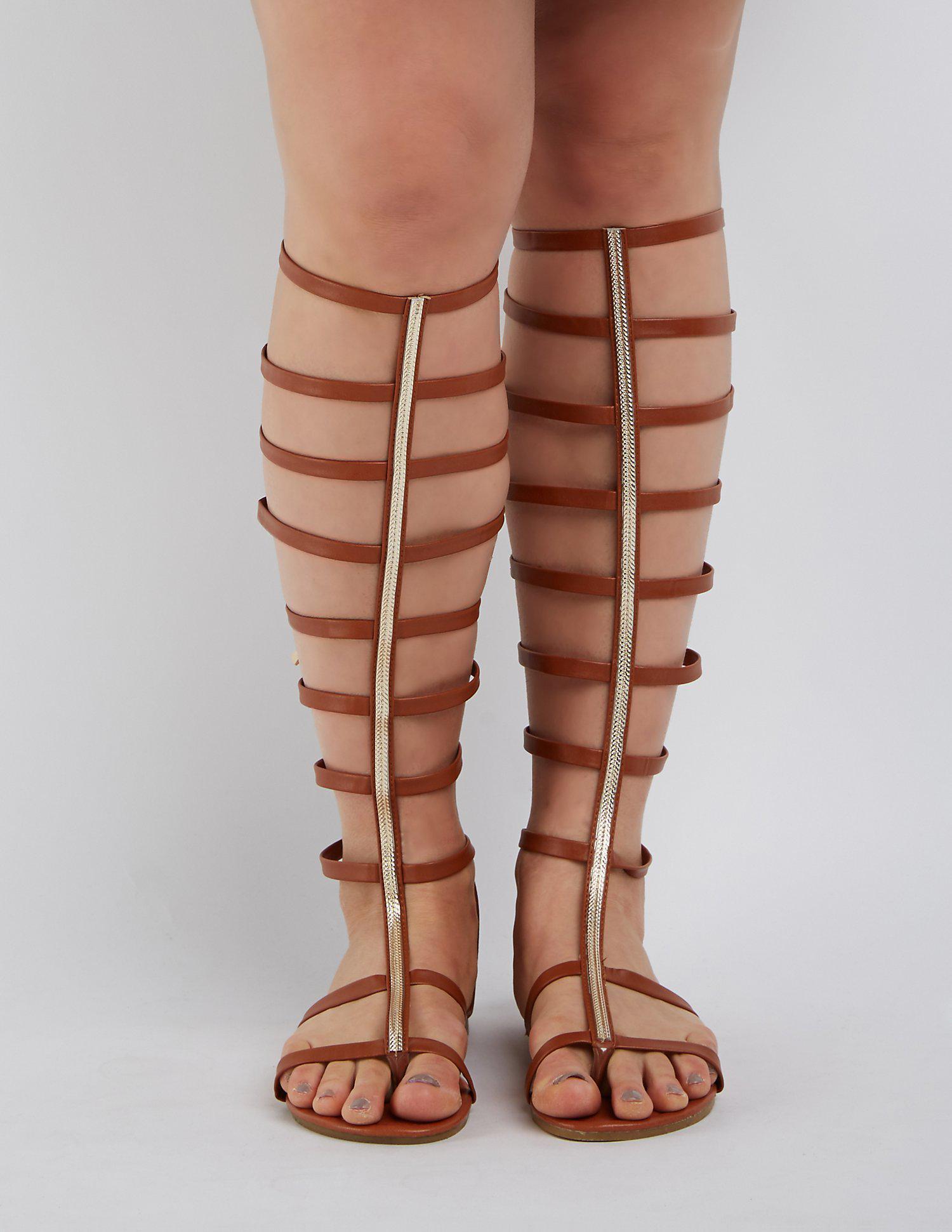 dbd370128980 Lyst - Charlotte Russe Wide Width   Calf Toe Strap Gladiator Sandals ...