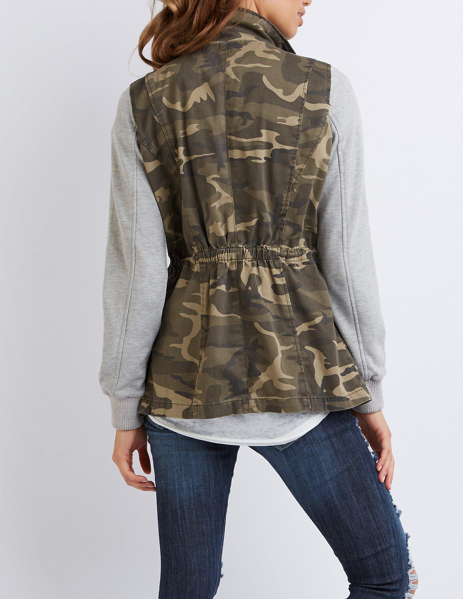 0ee8d3d4bcd Lyst - Charlotte Russe Camo Knit Sleeves Anorak Jacket