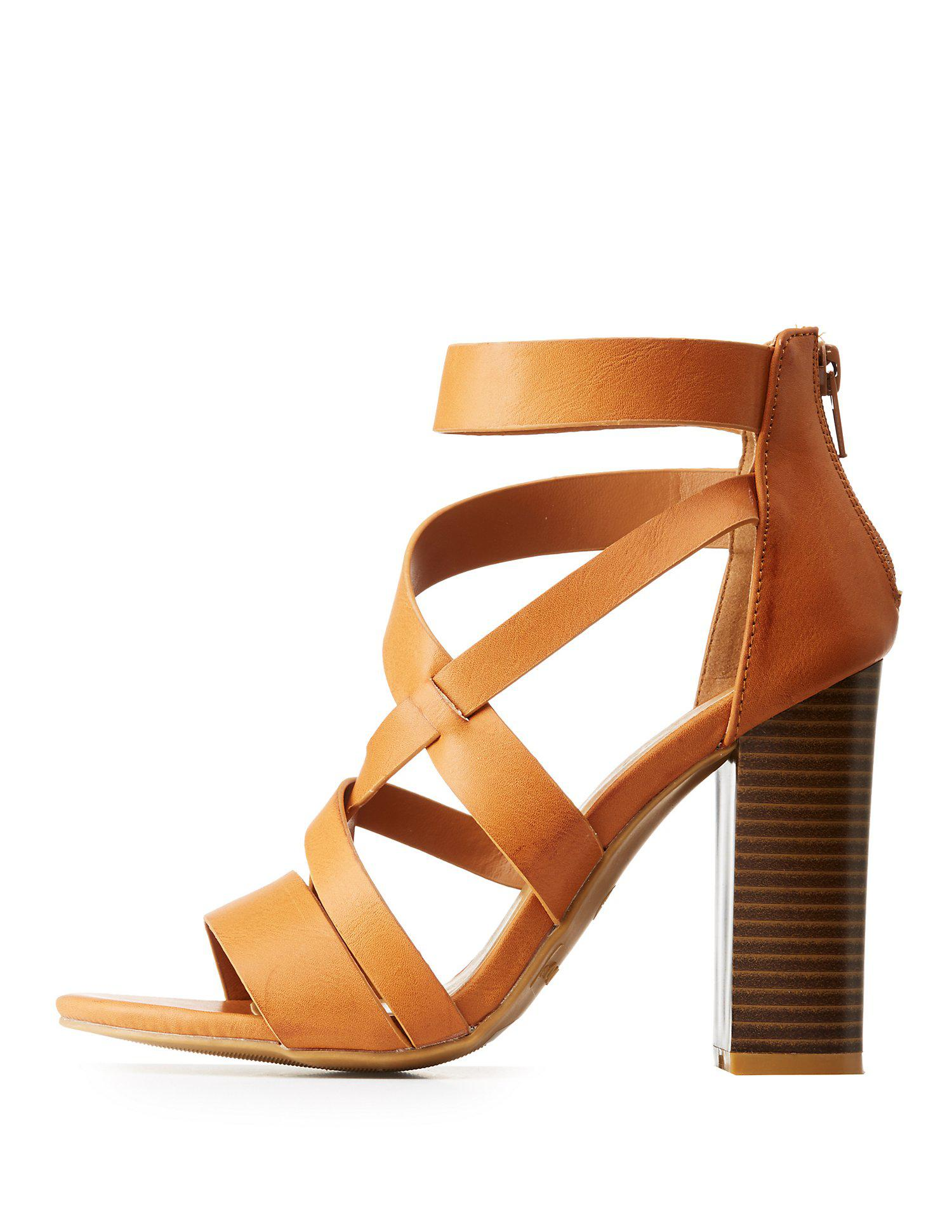 e6b91db8aa5 Lyst - Charlotte Russe Bamboo Caged Block Heel Sandals