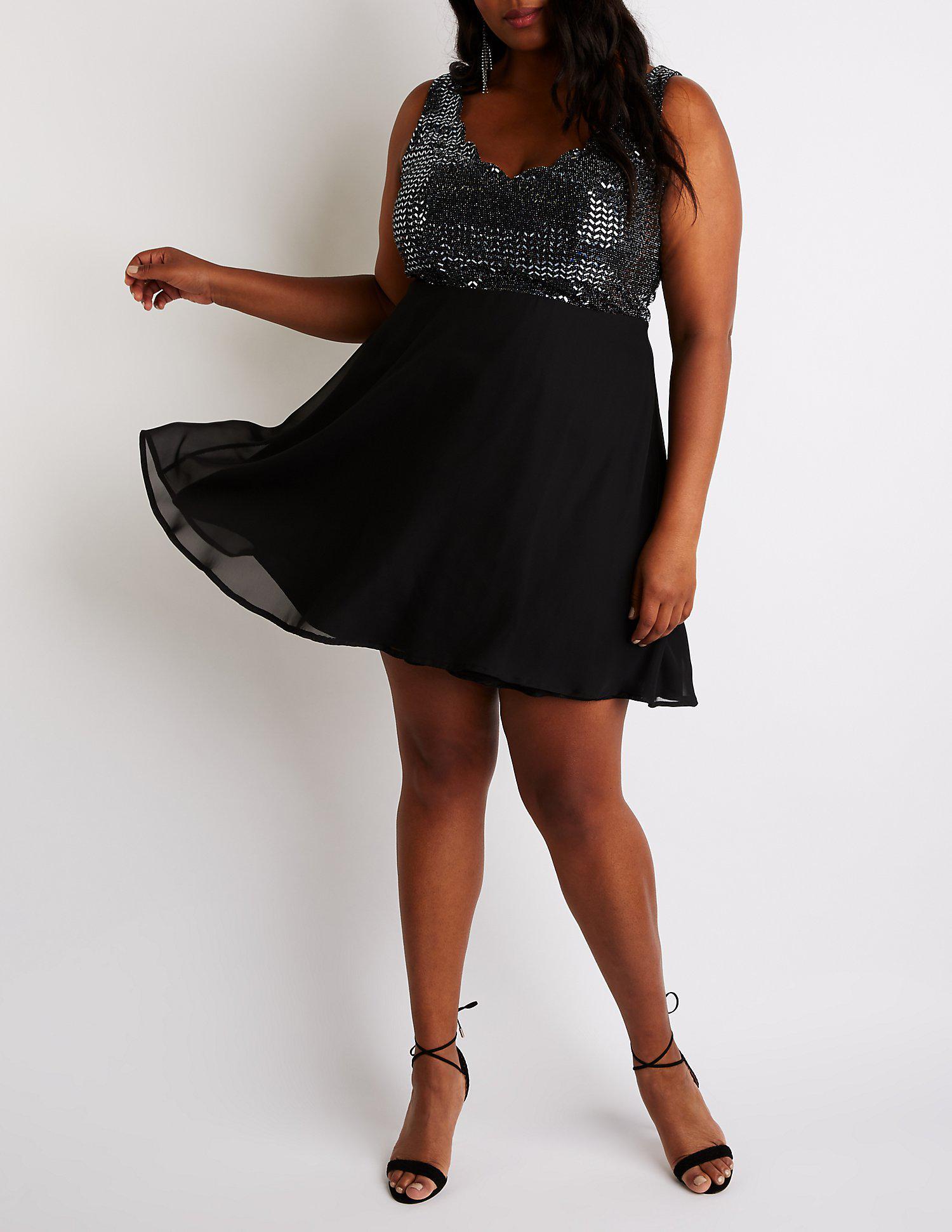 bfb67a300c6 Charlotte Russe - Black Plus Size Sequin Skater Dress - Lyst. View  fullscreen