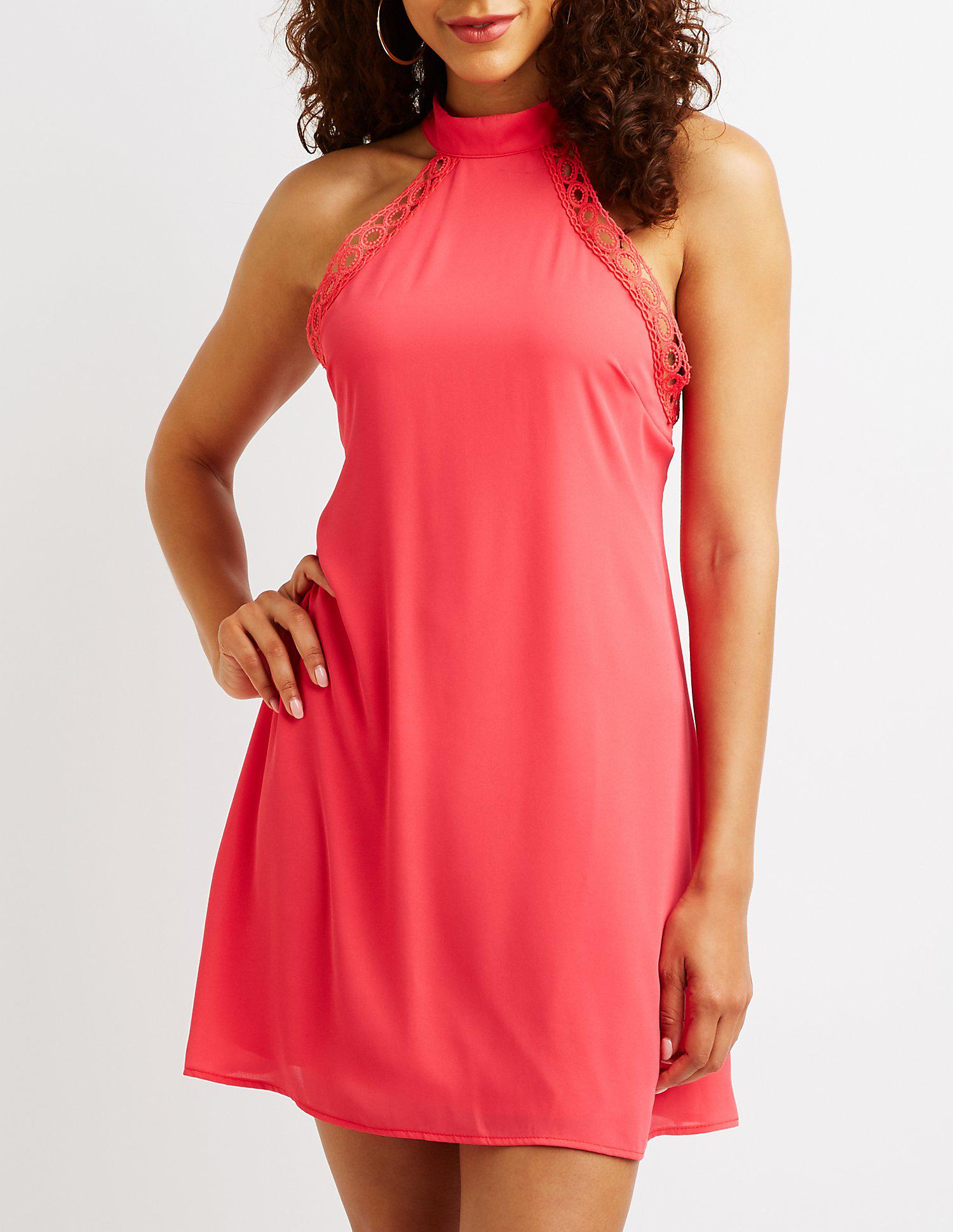 d91f8d60c47a Lyst - Charlotte Russe Crochet Mock Neck Dress in Orange