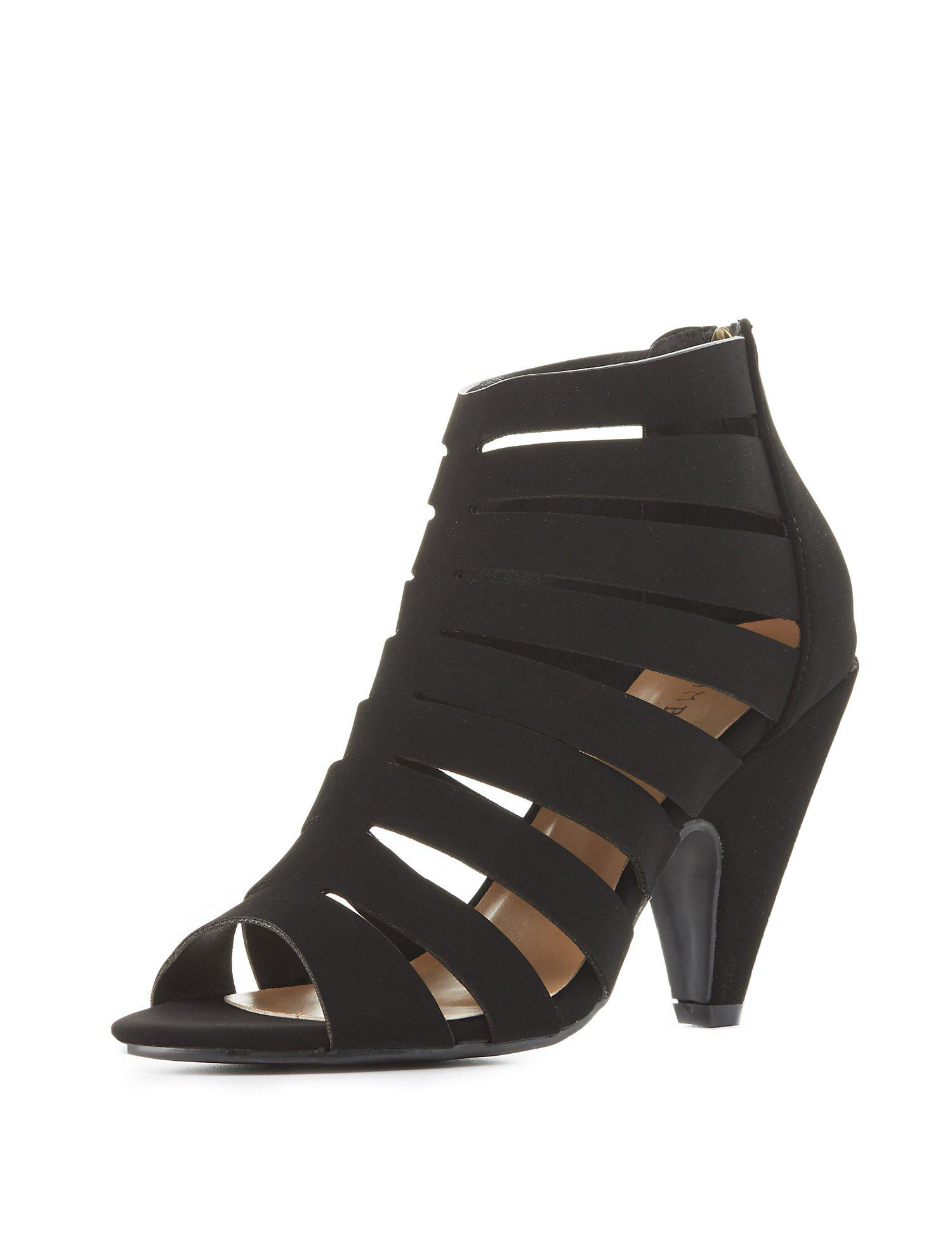 224a36dc9d8c Lyst - Charlotte Russe Bamboo Strappy Caged Sandals in Black
