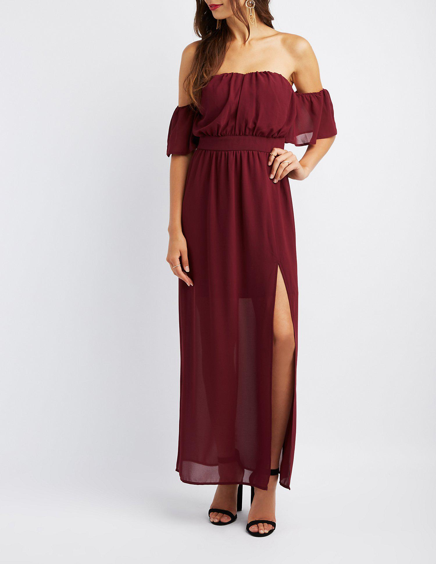 2cc487ed0528 Lyst - Charlotte Russe Off-the-shoulder Flutter Sleeve Maxi Dress in Red