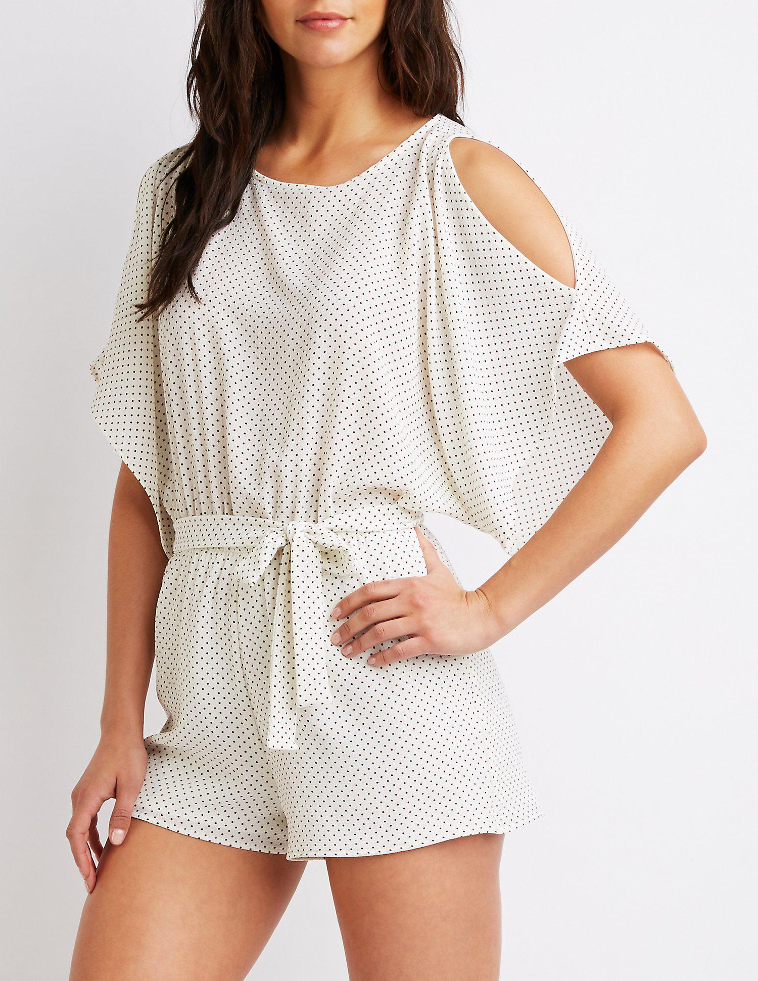 2932cc68791 Lyst - Charlotte Russe Striped Cold Shoulder Romper in White - Save ...