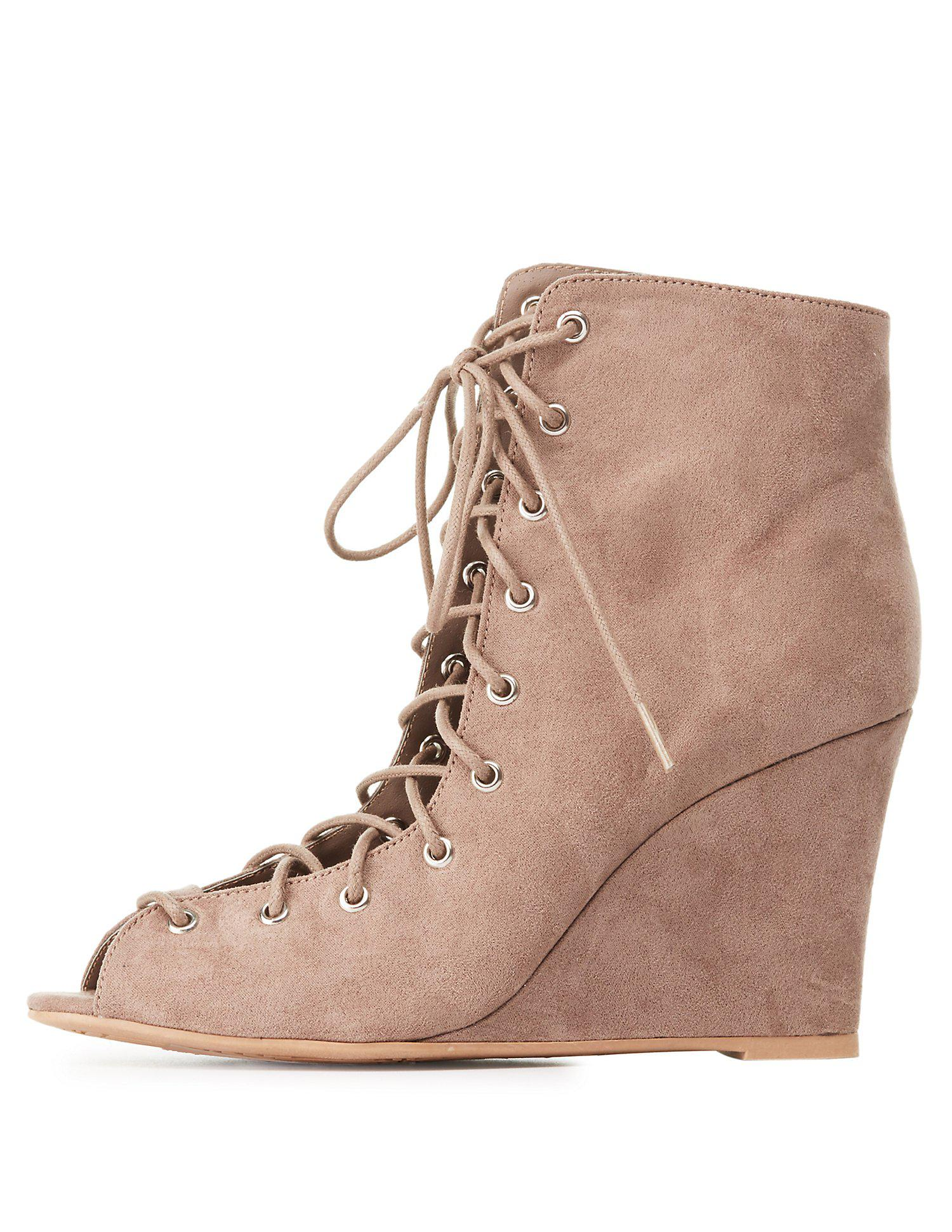 55422c181ba Lyst - Charlotte Russe Qupid Lace-up Wedge Booties in Brown