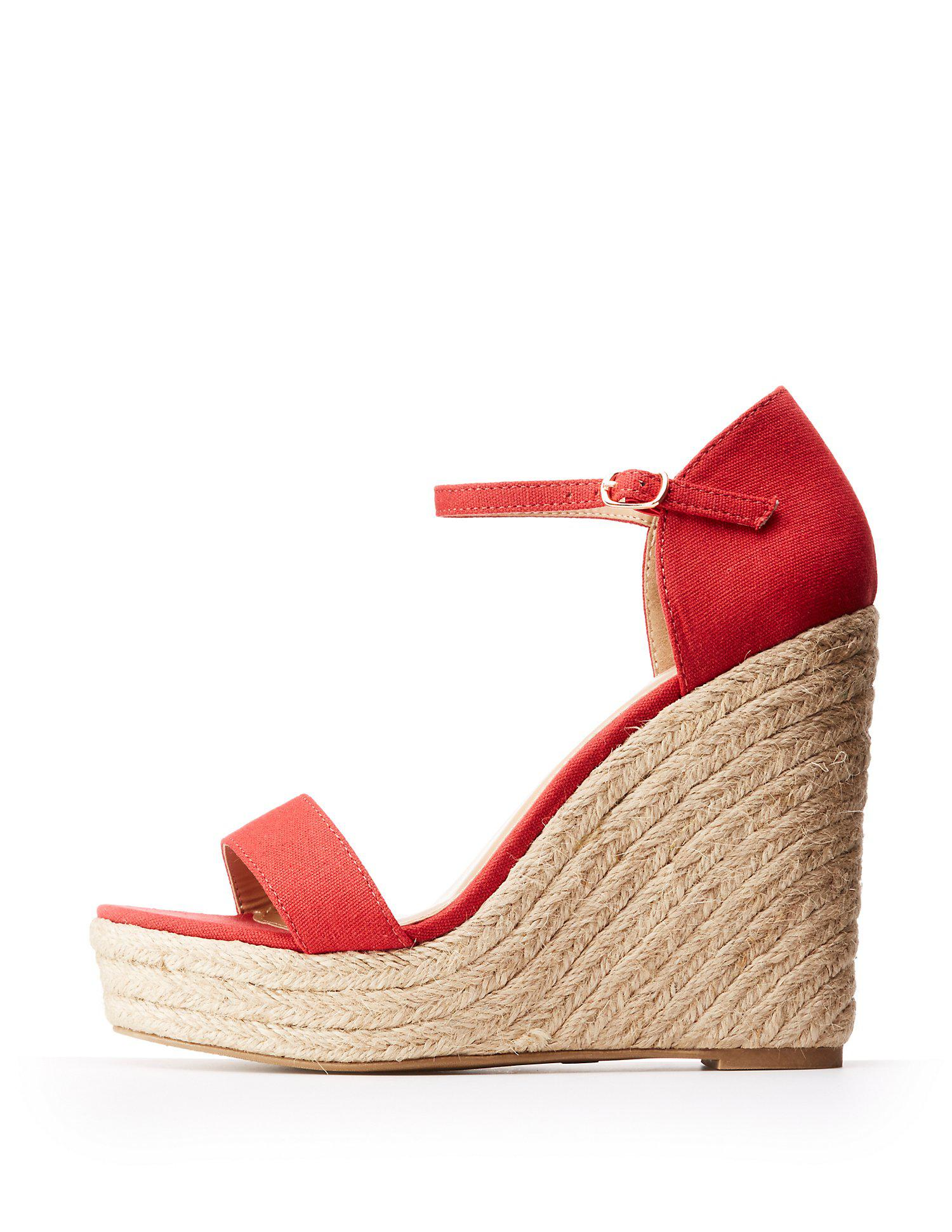 5d54a1435bed Lyst - Charlotte Russe Ankle Strap Espadrille Wedge Sandals in Red