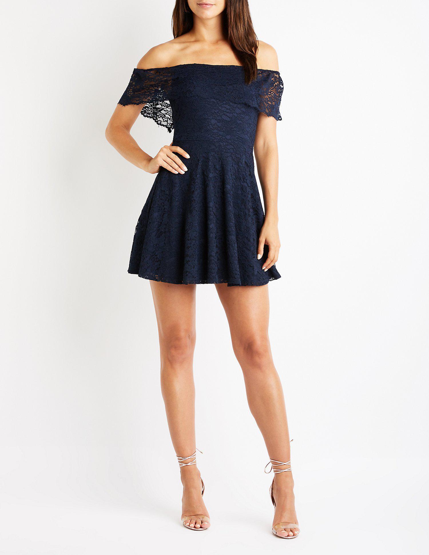 de76c36d473 Lyst - Charlotte Russe Lace Off The Shoulder Skater Dress in Blue