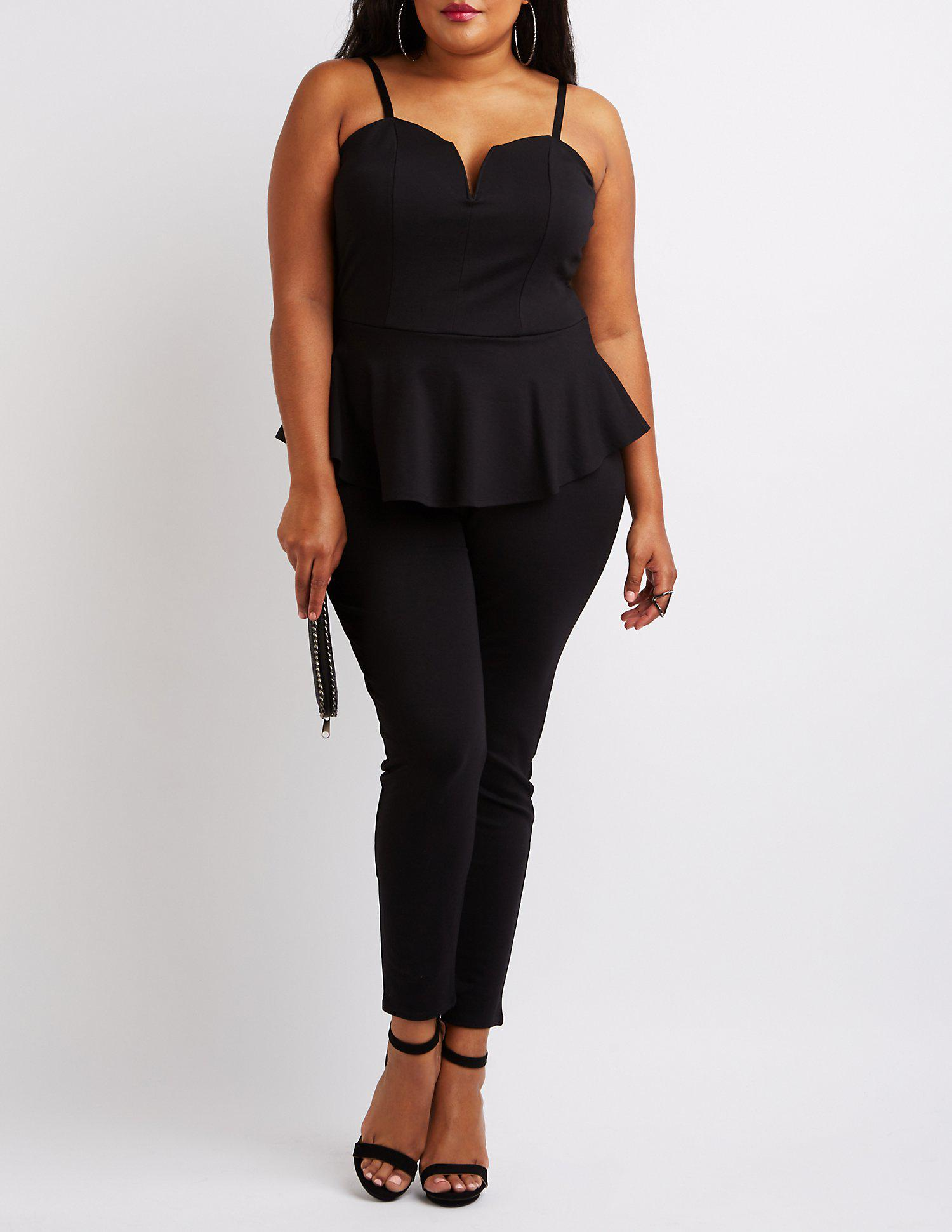 51ceadf8185 Lyst - Charlotte Russe Plus Size Notched Peplum Jumpsuit in Black