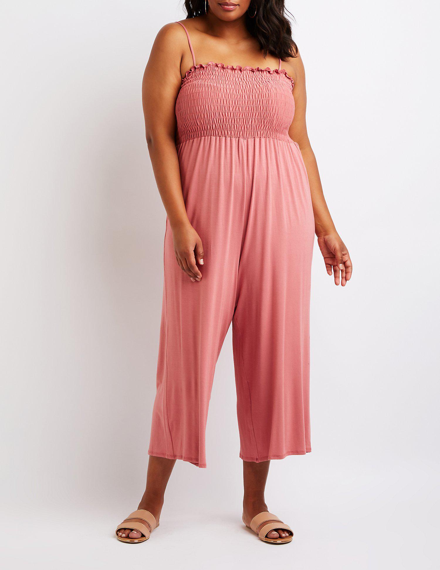 dff09e88155 Lyst - Charlotte Russe Plus Size Smocked Culotte Jumpsuit in Purple