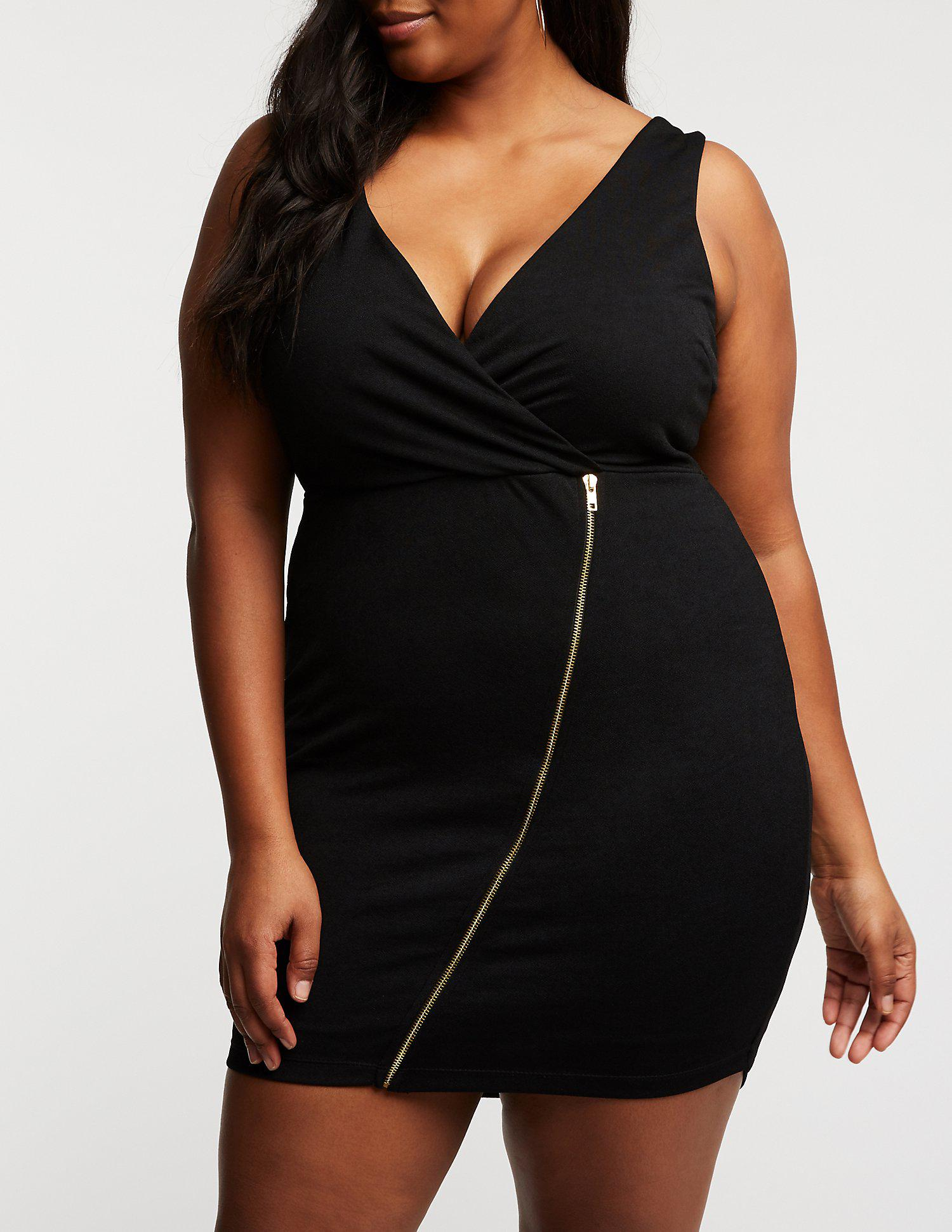 48a69034f2b Charlotte Russe. Women s Black Plus Size Wrap Asymmetrical Bodycon Dress