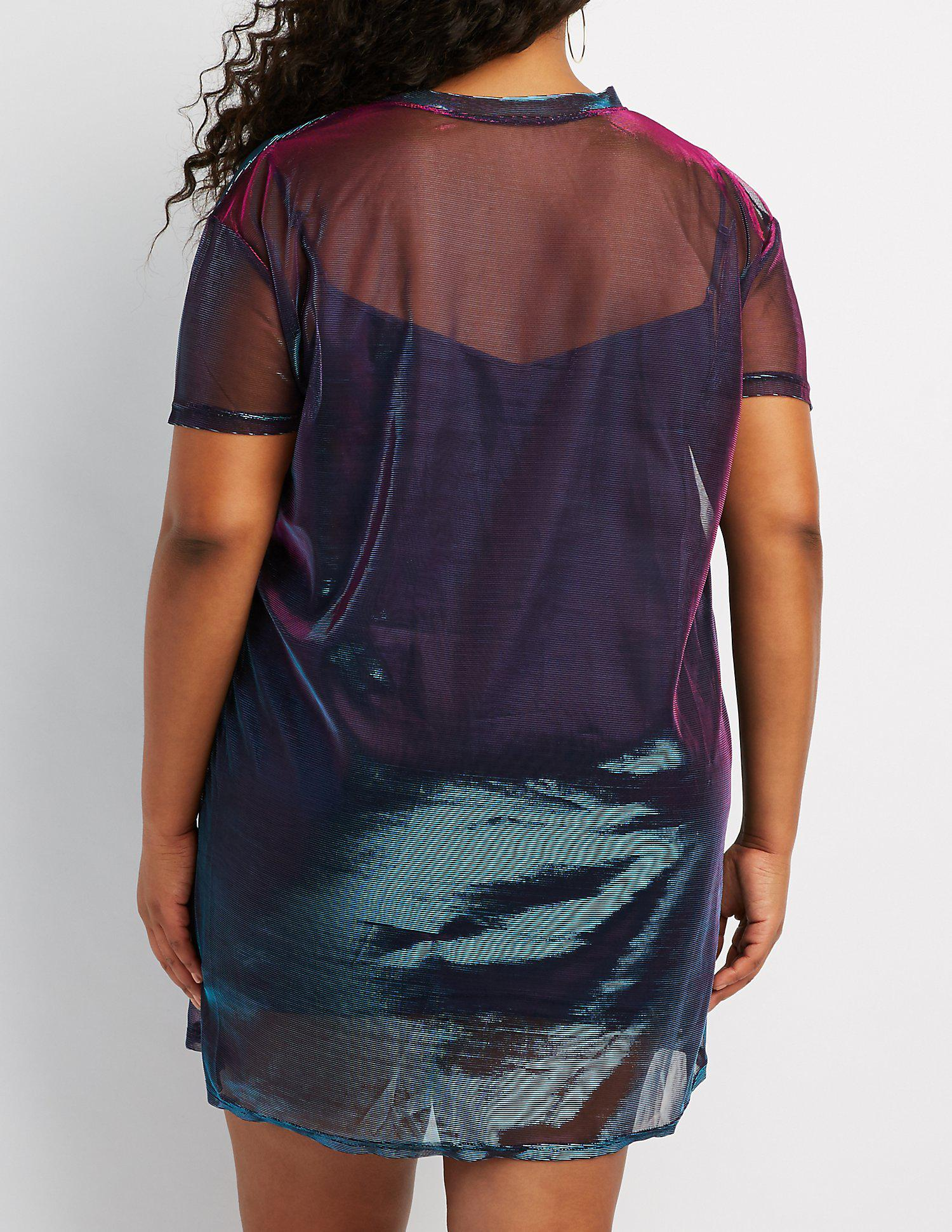 b915d1cfd9c Lyst - Charlotte Russe Plus Size Holographic T-shirt Dress in Blue
