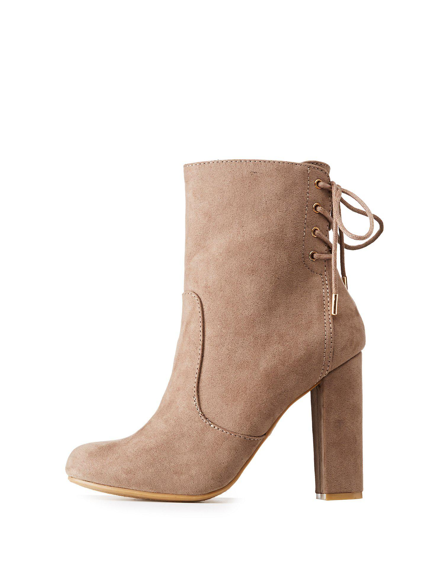 021e2e0f609f Lyst - Charlotte Russe Bamboo Tie-back Ankle Booties in Brown