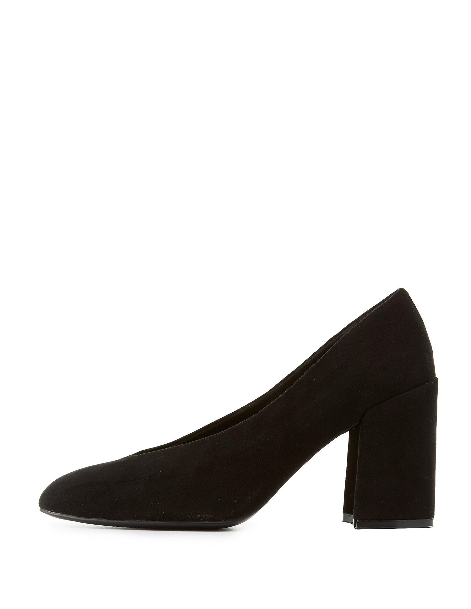 0dae085cfd Lyst - Charlotte Russe Qupid Pointed Toe Block Heel Pumps in Black ...