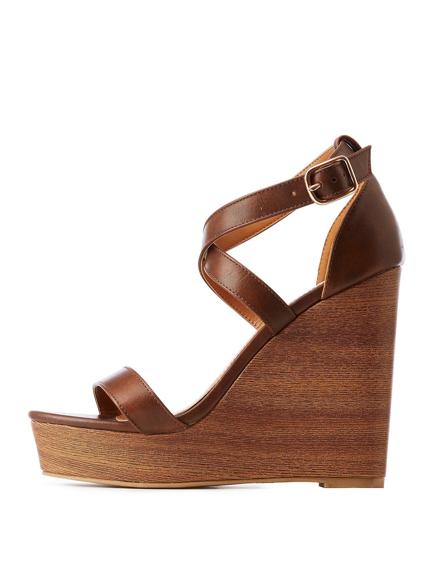 43db001b9565 Lyst charlotte russe crisscross wood wedge sandals in brown jpg 1500x1941 Charlotte  russe wedge sandals