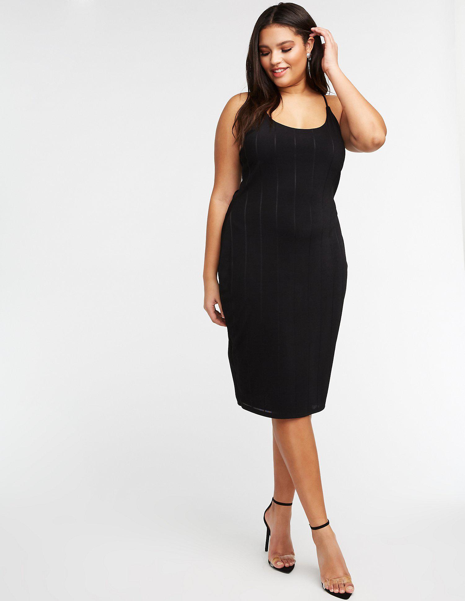 ee8b08f1fa Lyst - Charlotte Russe Plus Size Scoop Neck Midi Dress in Black