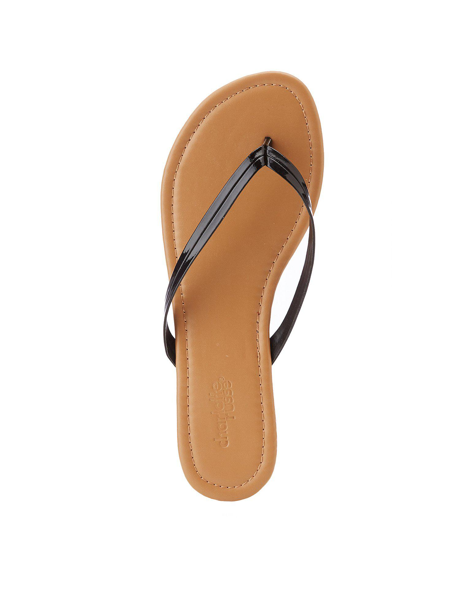 c1ac78f0e Lyst - Charlotte Russe Faux Patent Leather Flip Flops in Black ...