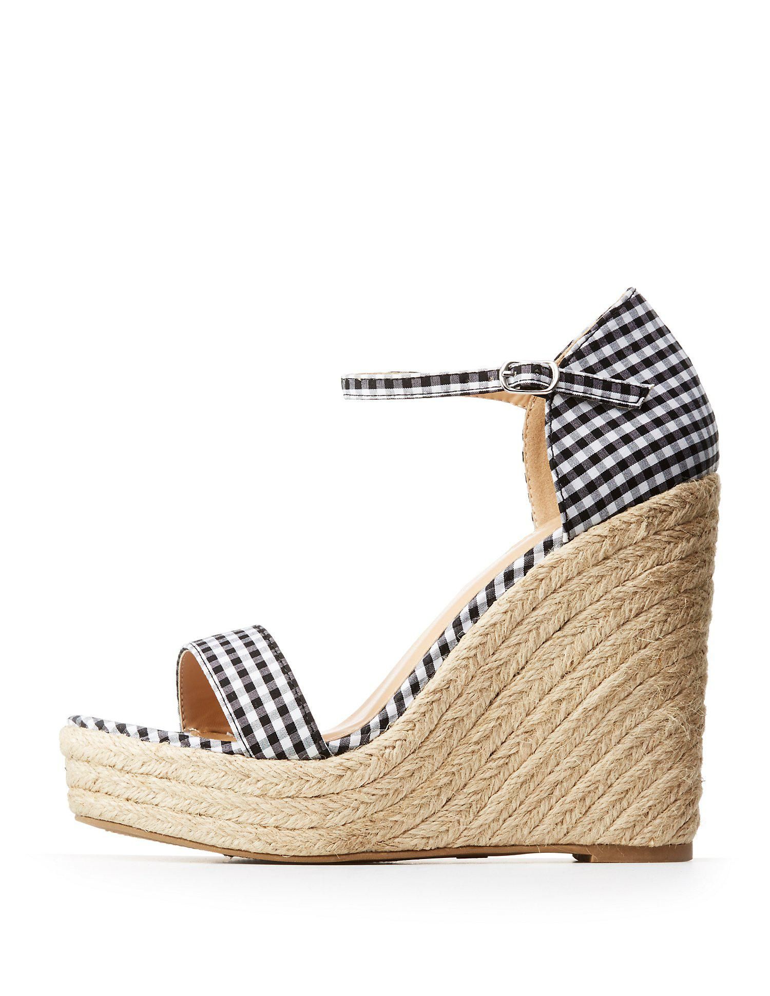 8a671b1d774c Lyst charlotte russe gingham espadrille wedge sandals in black jpg  1500x1941 Charlotte russe wedge sandals