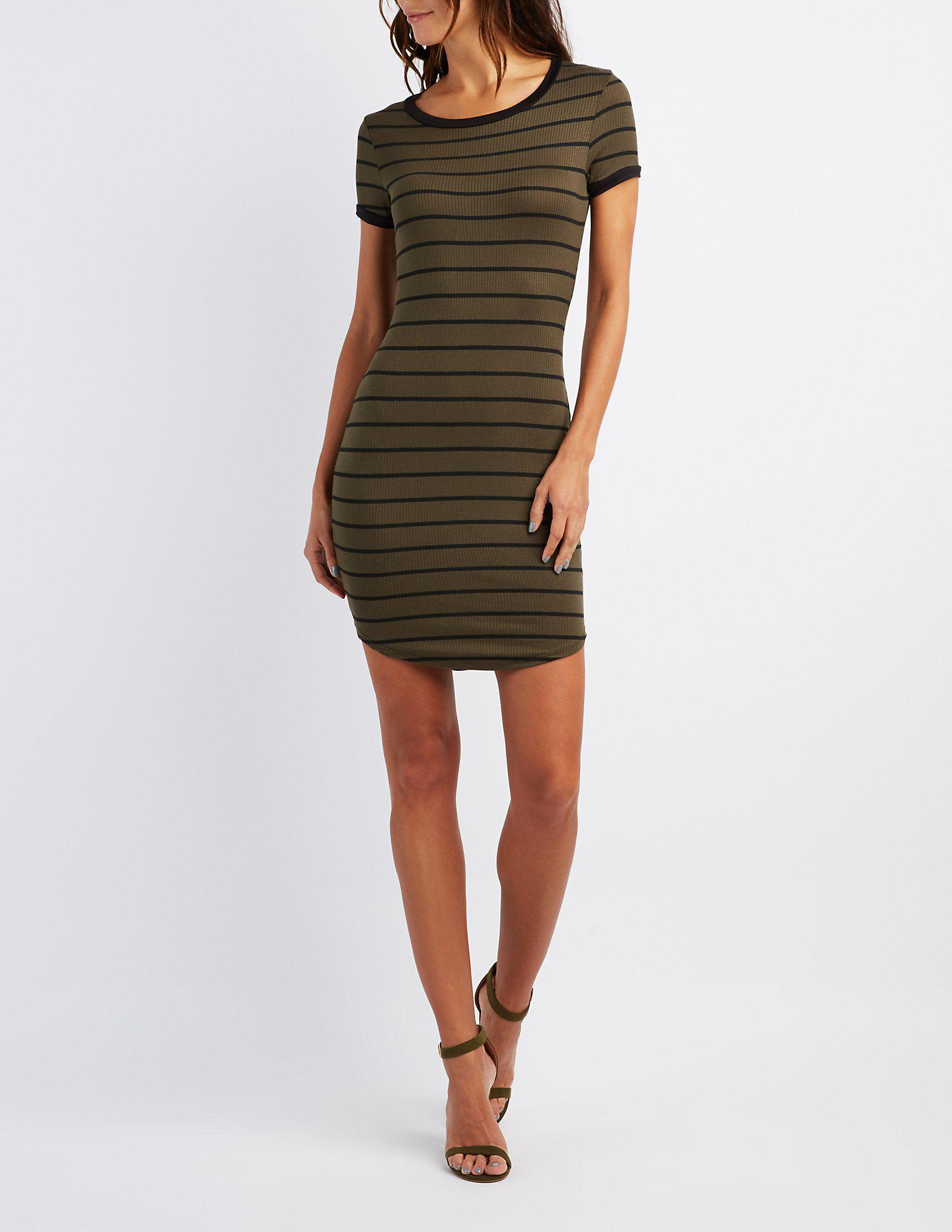 6f4633783e Lyst - Charlotte Russe Striped Ringer Bodycon Dress in Green