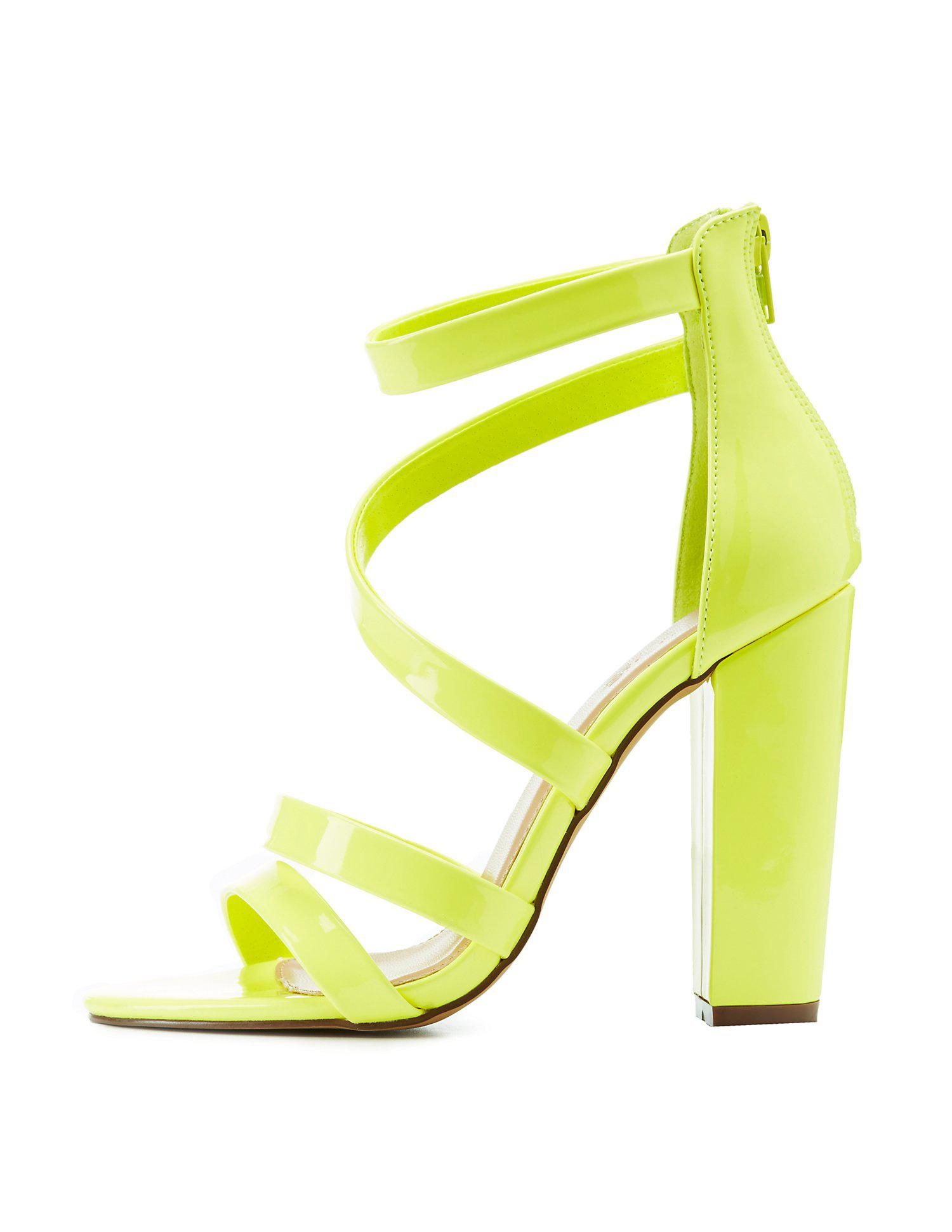9d0329c937c Lyst - Charlotte Russe Caged Block Heel Sandals in Yellow - Save 29%