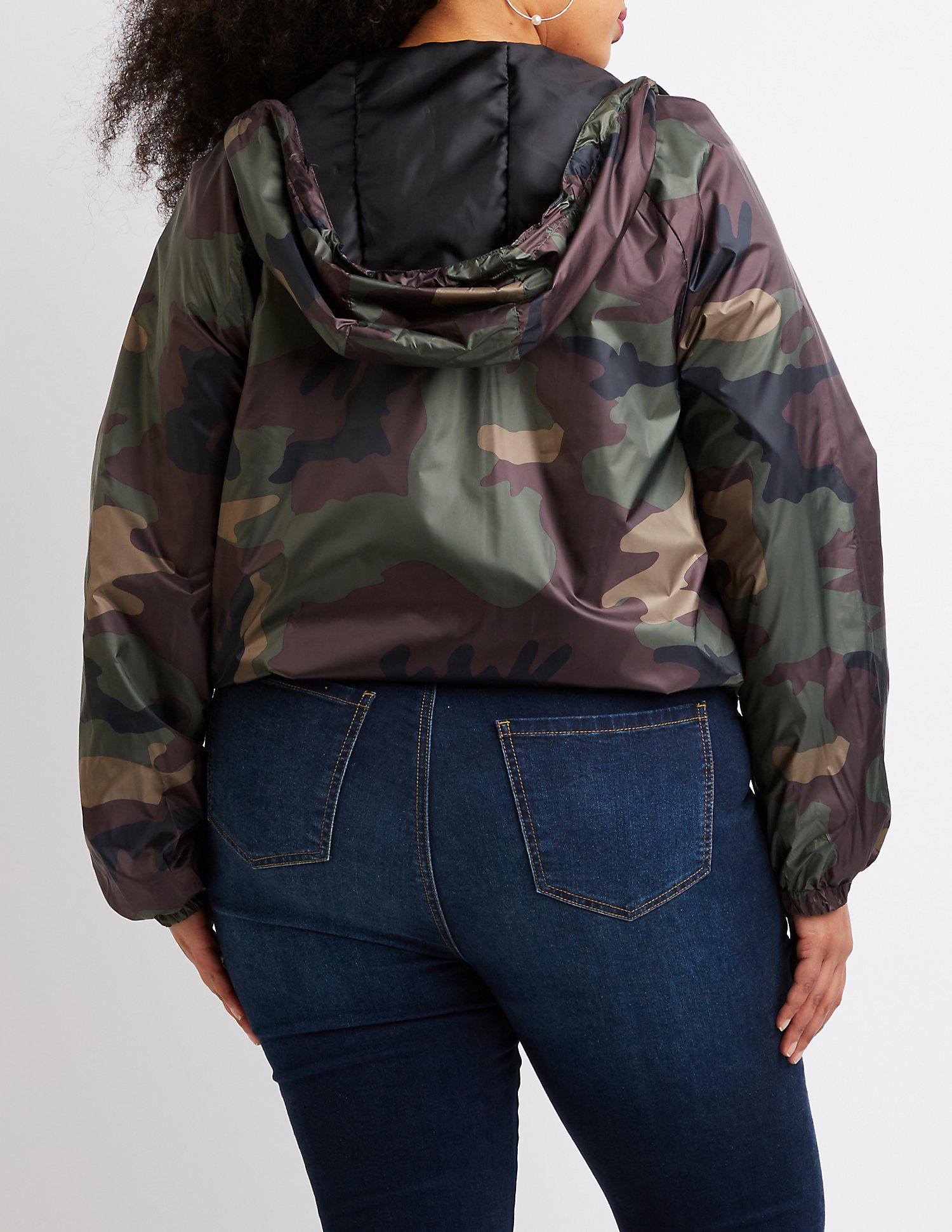 10999bcc068 Lyst - Charlotte Russe Plus Size Camo Hooded Bomber Jacket in Black