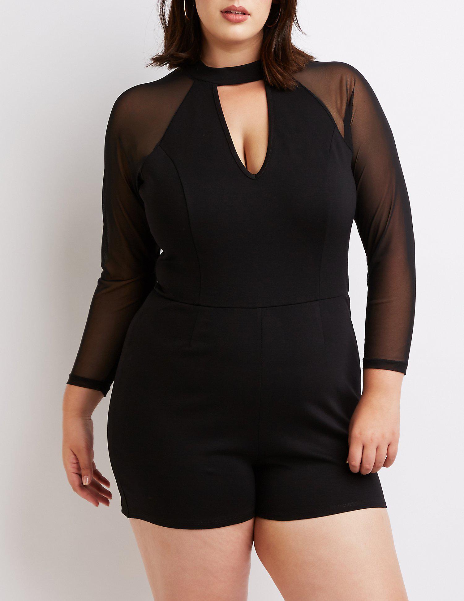 d38d33197c26 Lyst - Charlotte Russe Plus Size Mesh Sleeve Cut-out Romper in Black