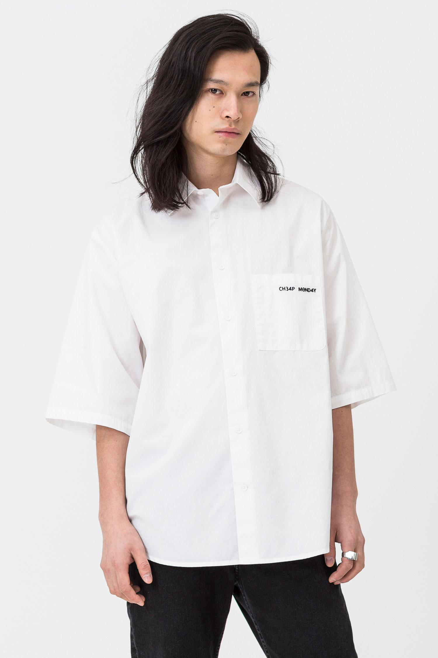 cea9cd3c51 Cheap Monday Fuse Security Logo Shirt in White for Men - Lyst