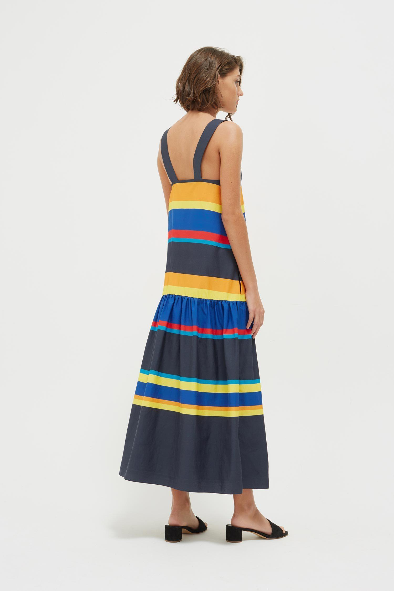 Chinti Parker Navy Sunset Stripe Cotton Silk Sundress In Blue Lyst