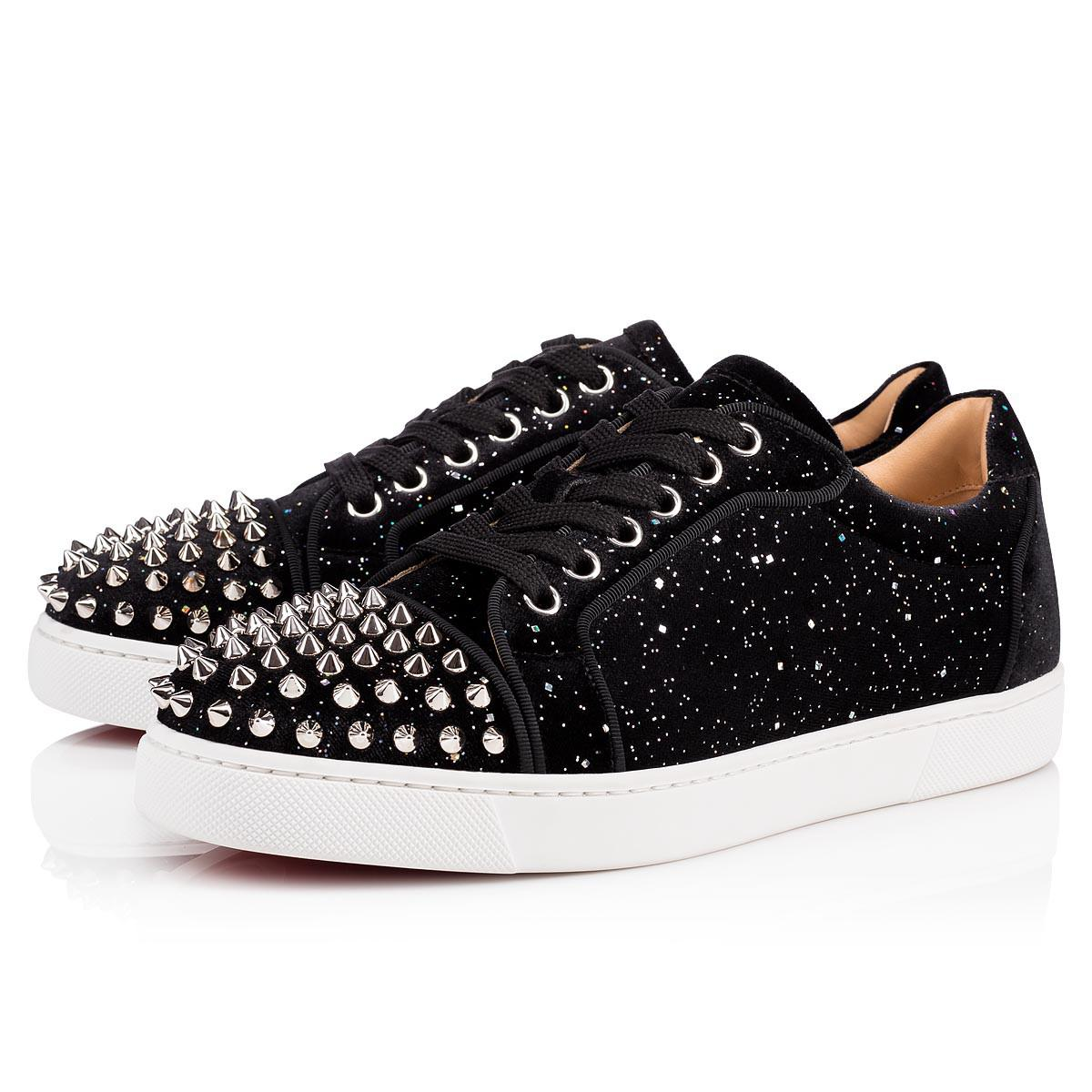 9f3795722bbf Christian Louboutin Viera Spiked Velvet Trainers in Black - Save 24 ...