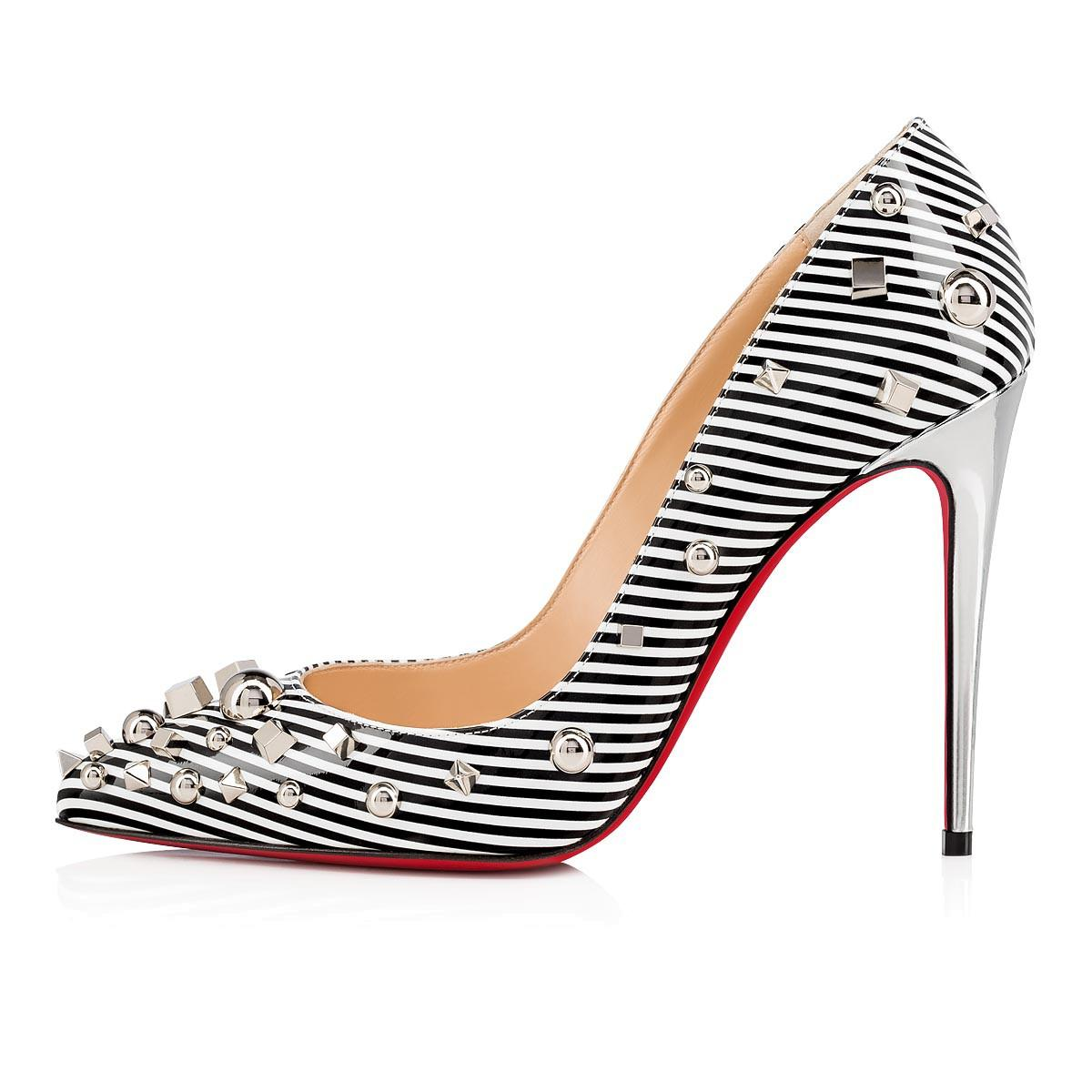 e8e5bd6a765e Christian Louboutin. Women s Aimanta 100 Stripe Patent Leather Point Toe  Pumps - Black White ...