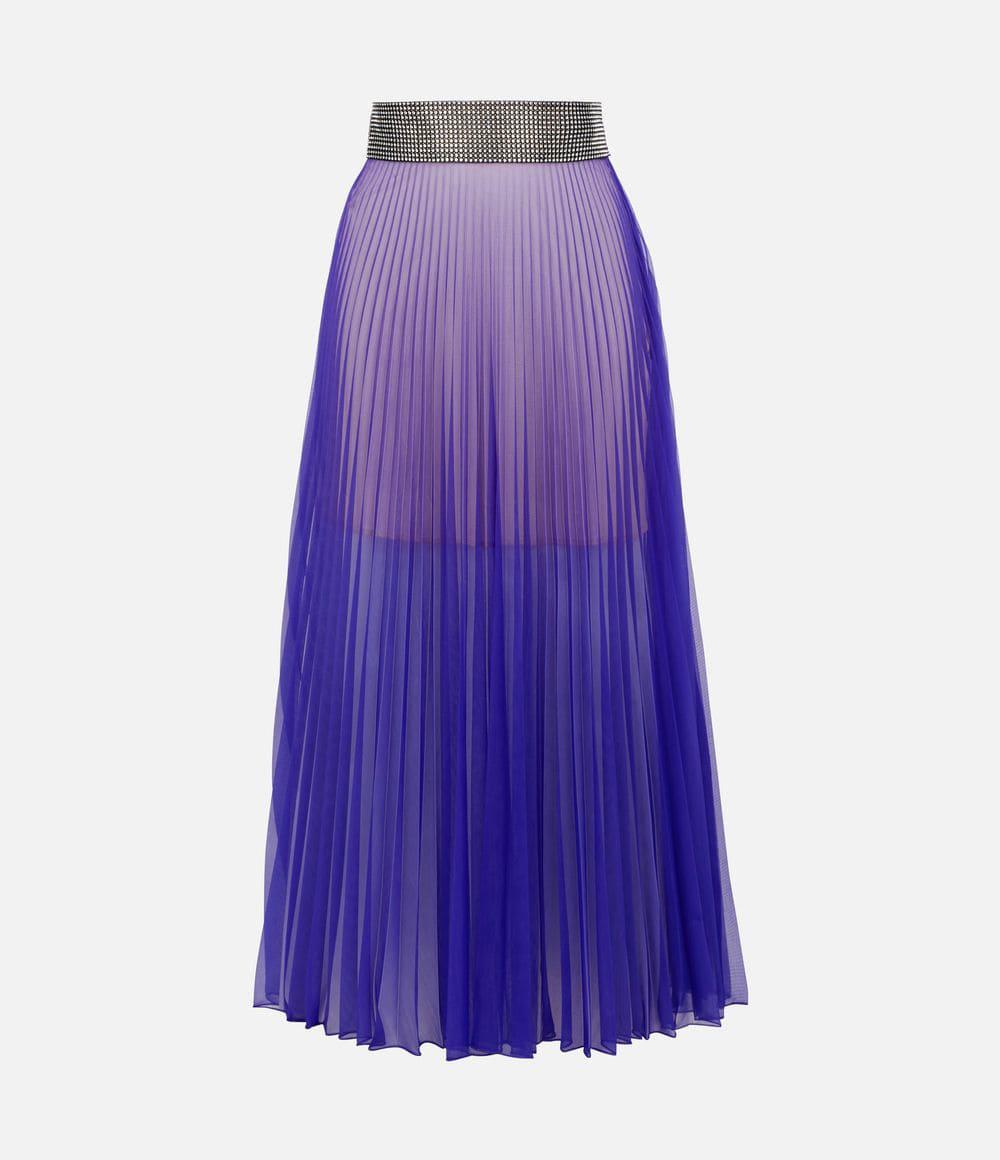 43b8bc09e7 Lyst - Christopher Kane Crystal Mesh Pleated Skirt in Purple