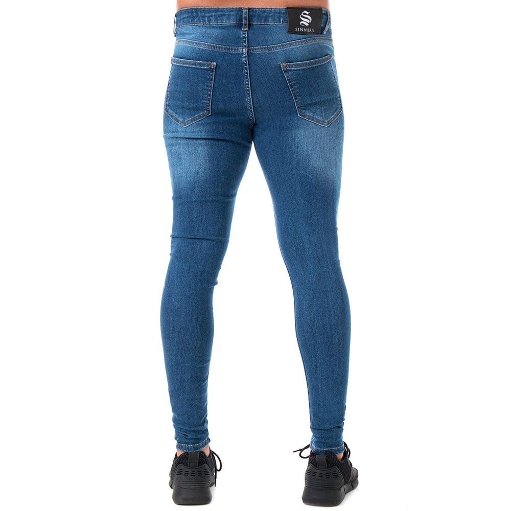 Sinners Old Spray On Jeans In Dark Denim in Blue for Men