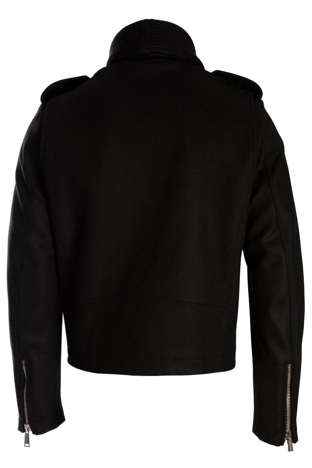 DSquared² Wool Dsquared Knitted Shawl Collar Black Jacket for Men