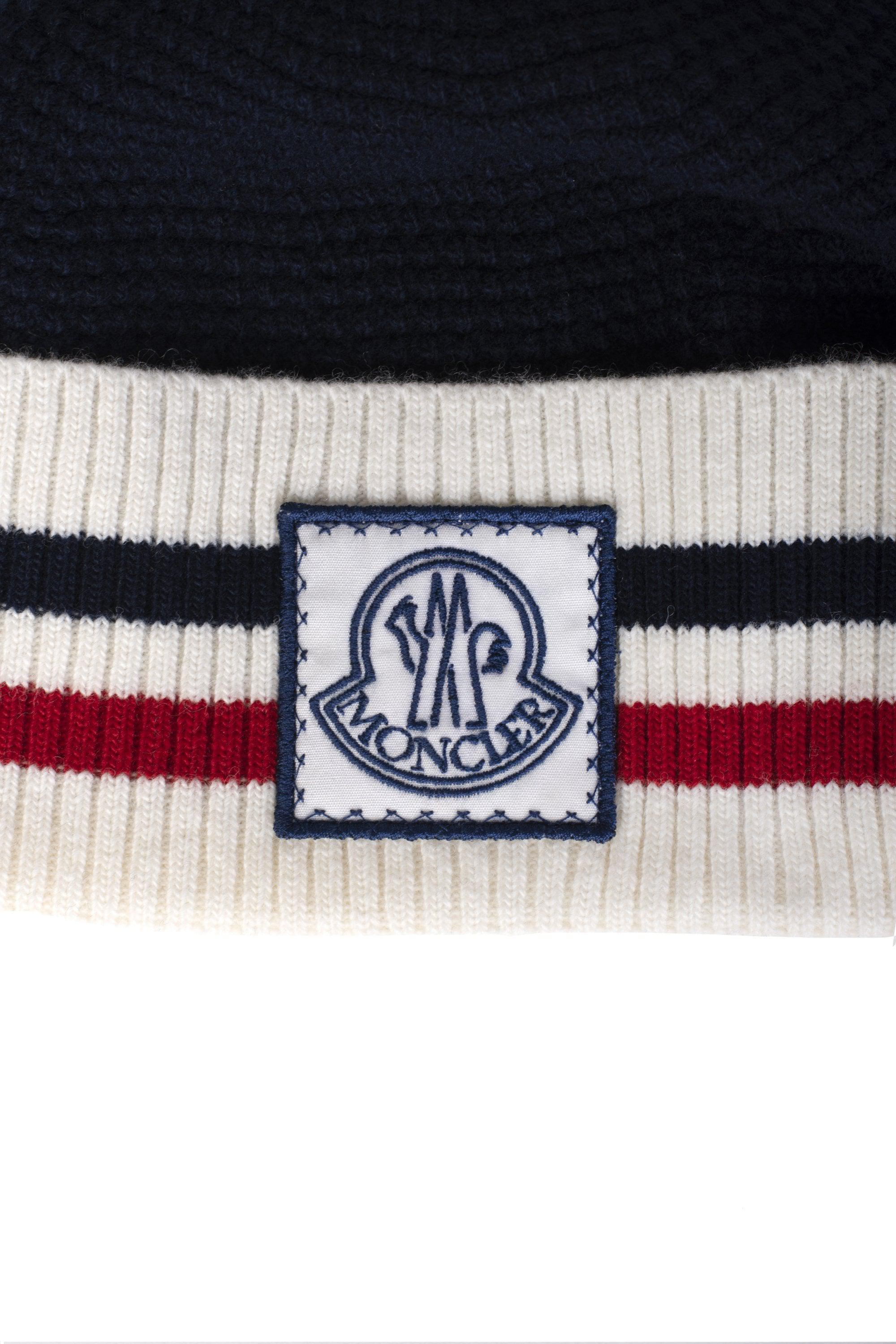 9096046be0b Moncler Gamme Bleu Contrast Trim Beanie Hat in Blue for Men - Lyst