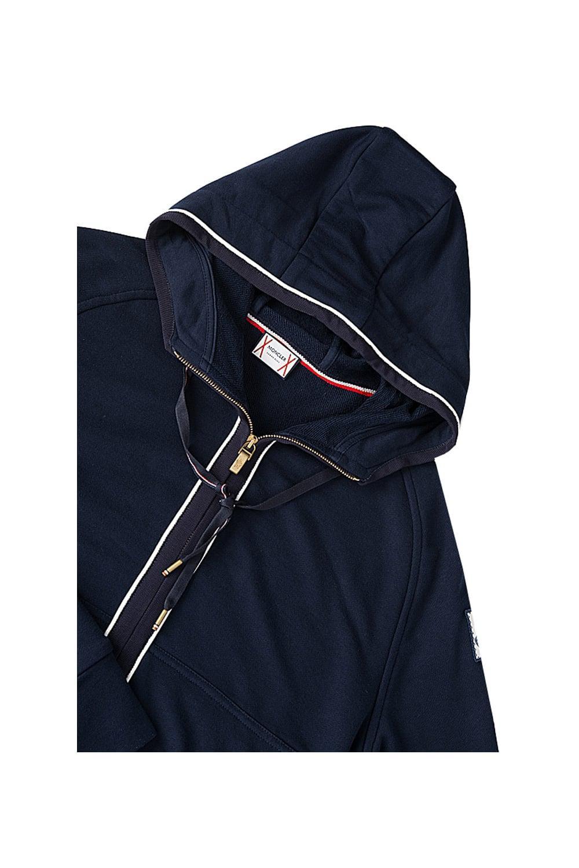 Moncler Cotton Gamme Bleu Zip Through Hooded Top Navy in Blue for Men