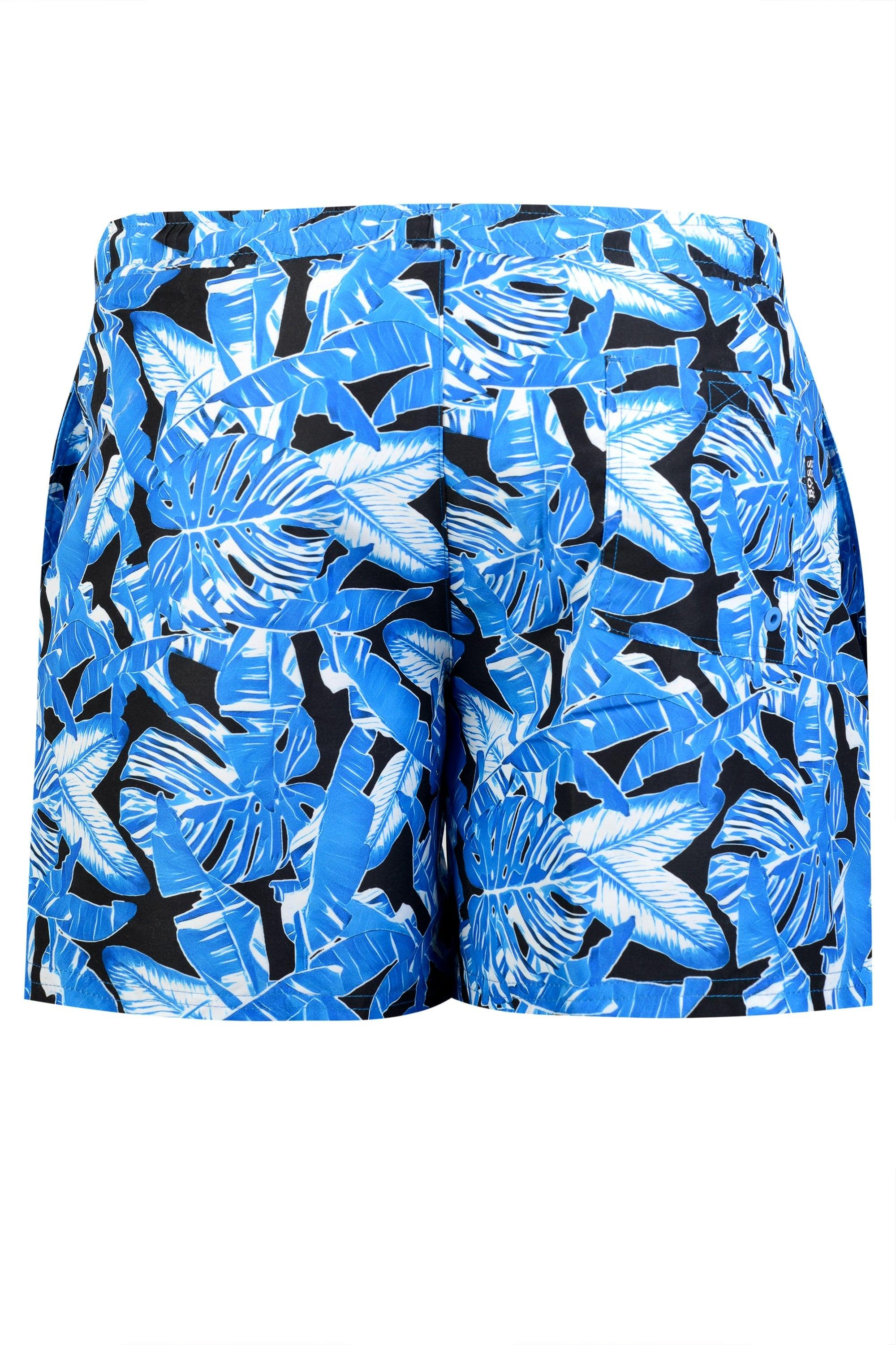 4195808244 BOSS - Blue Hugo Barracuda Print Swim Shorts for Men - Lyst. View fullscreen