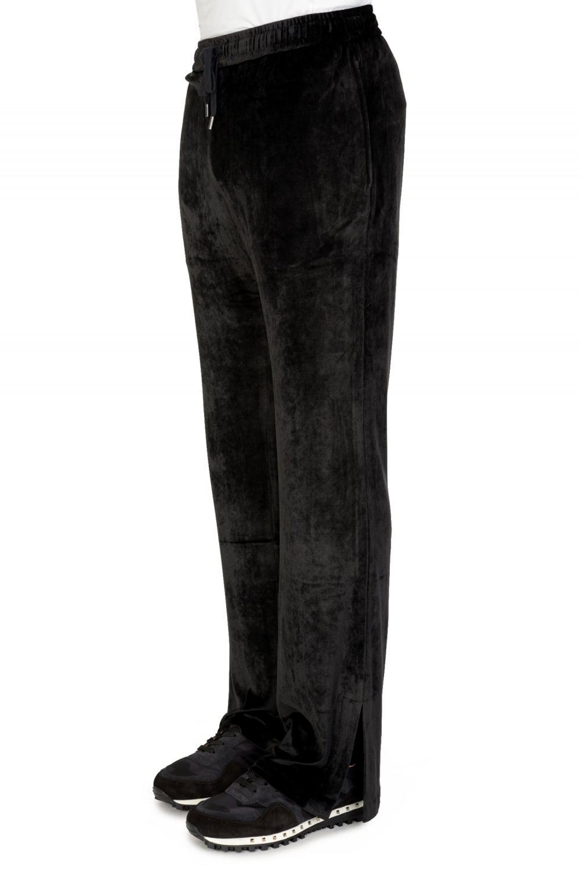 Versace Mainline Velvet Combination Joggers in Black for Men