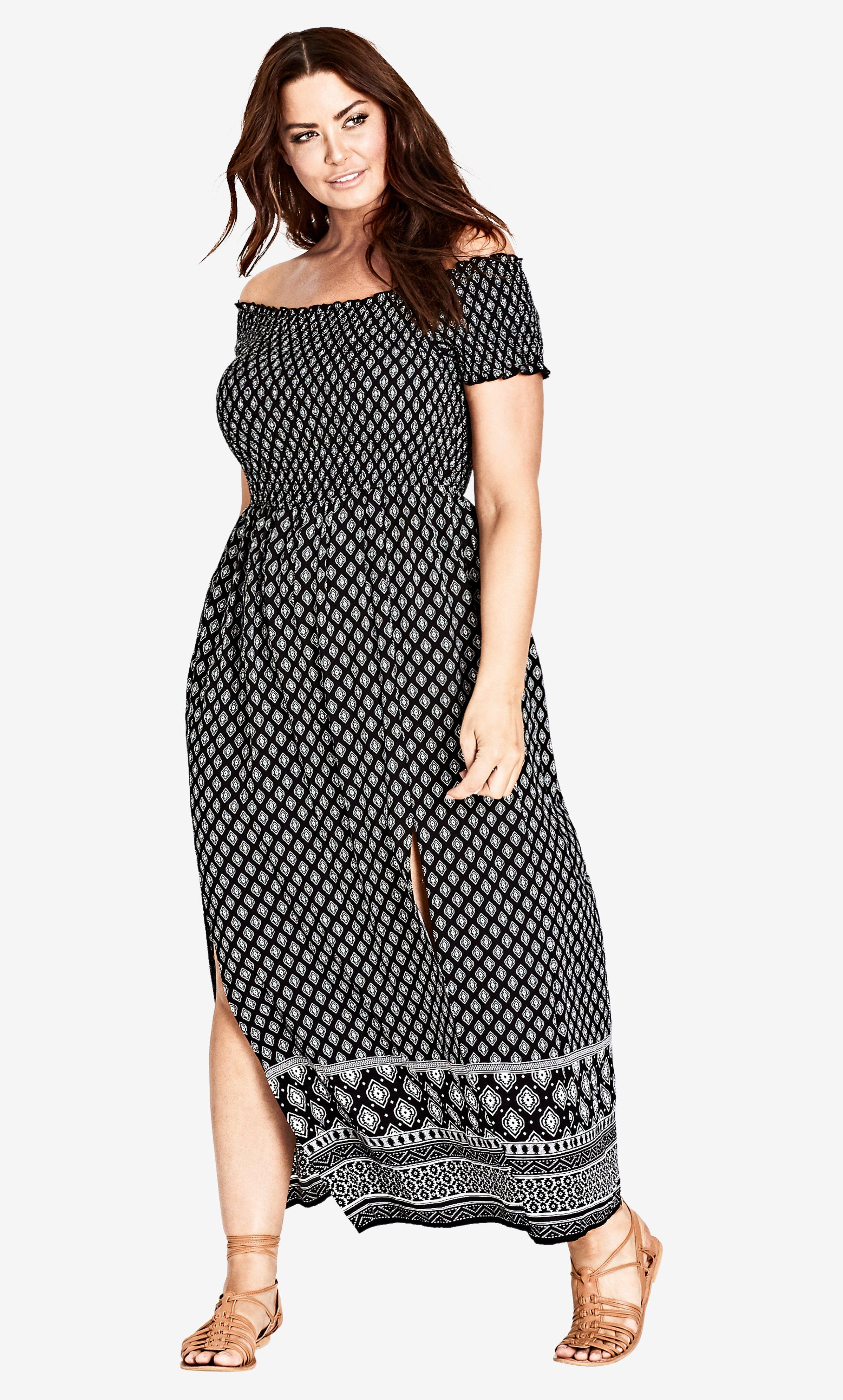 a89250bbb5e City Chic Printed Off Shoulder Smock Maxi Dress in Black - Lyst