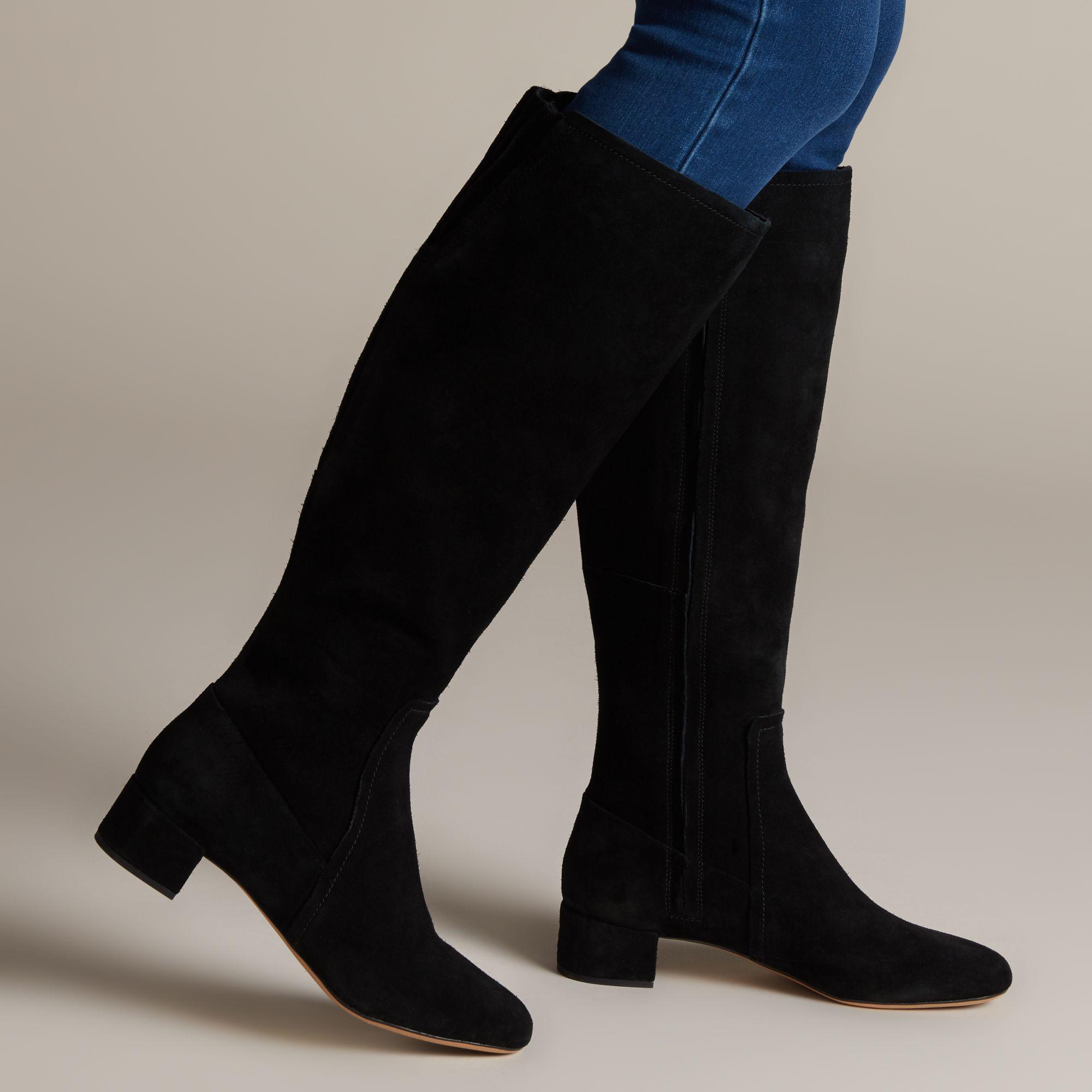ORABELLA AVA LADIES CLARKS CLASSIC SUEDE HEEL ZIP EVERYDAY KNEE HIGH BOOTS SIZE