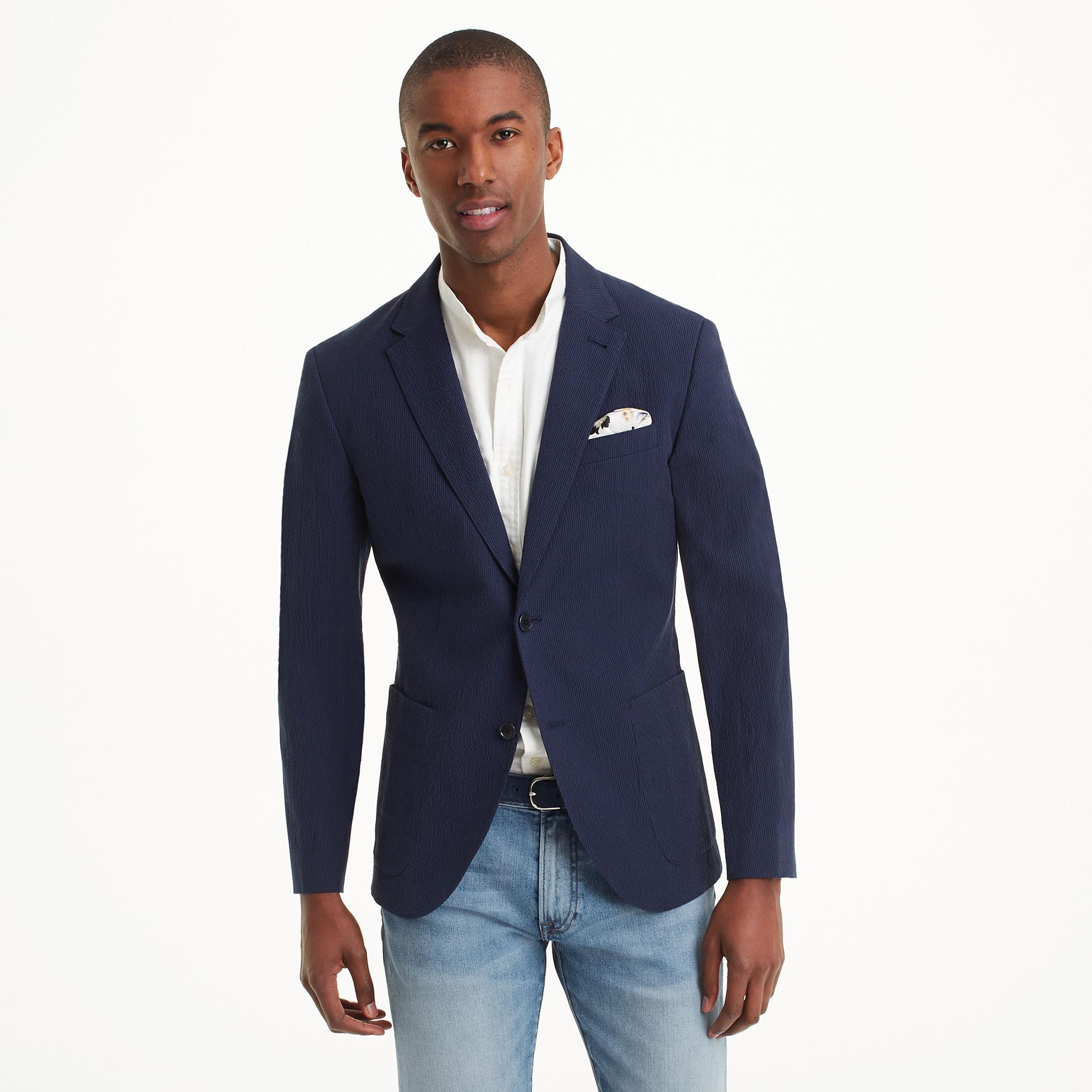 Club Monaco Cotton Grant Seersucker Blazer In Navy Black Blue