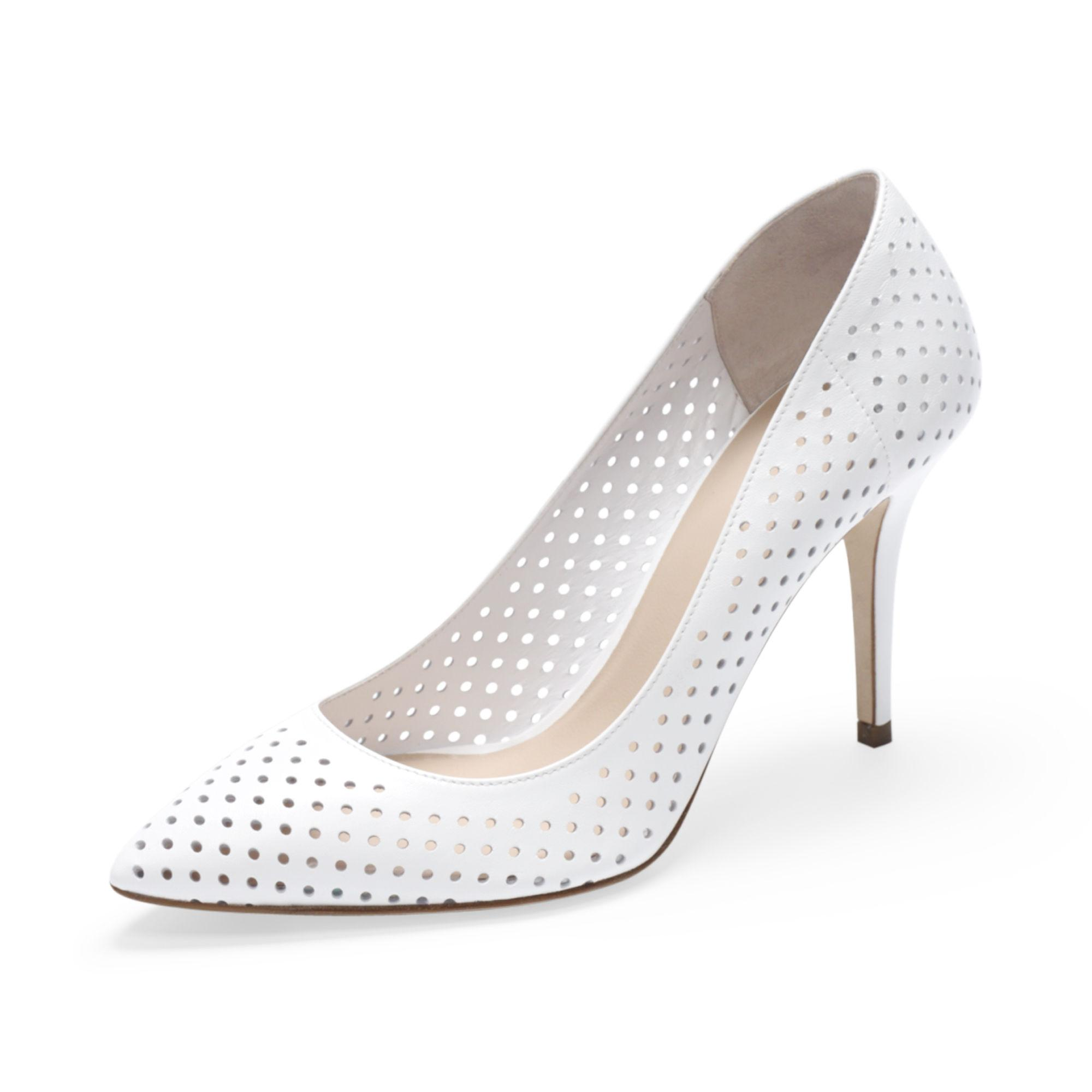 994df2824d0b8e Lyst - Club Monaco April Perforated-Leather Pumps in White