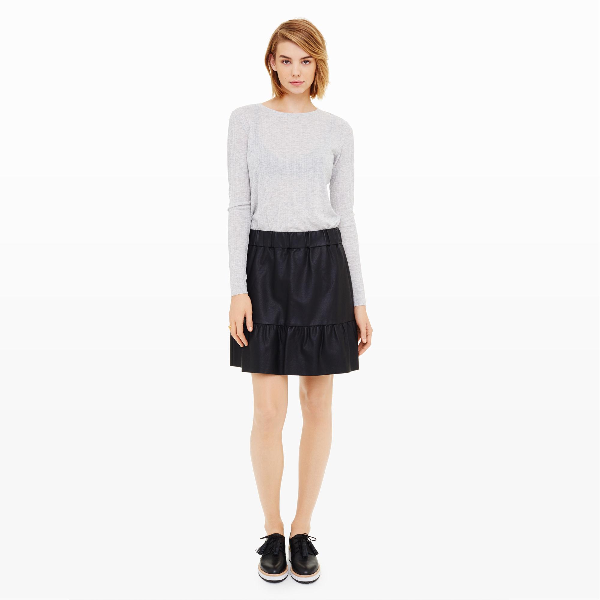 bec077e78a 149 Club Monaco Delani Novel Faux Vegan Leather Ruffle Hem Skirt