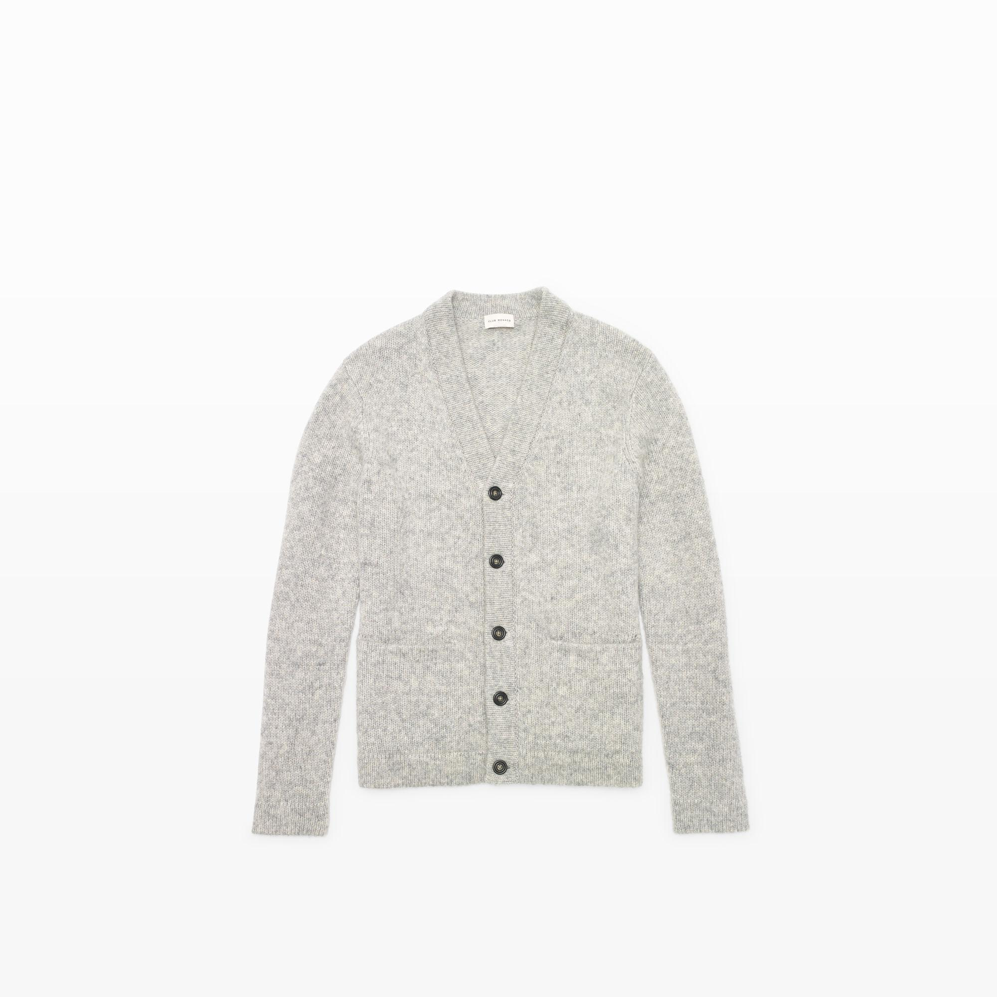 Club monaco Soft Wool Cardigan in Gray for Men | Lyst
