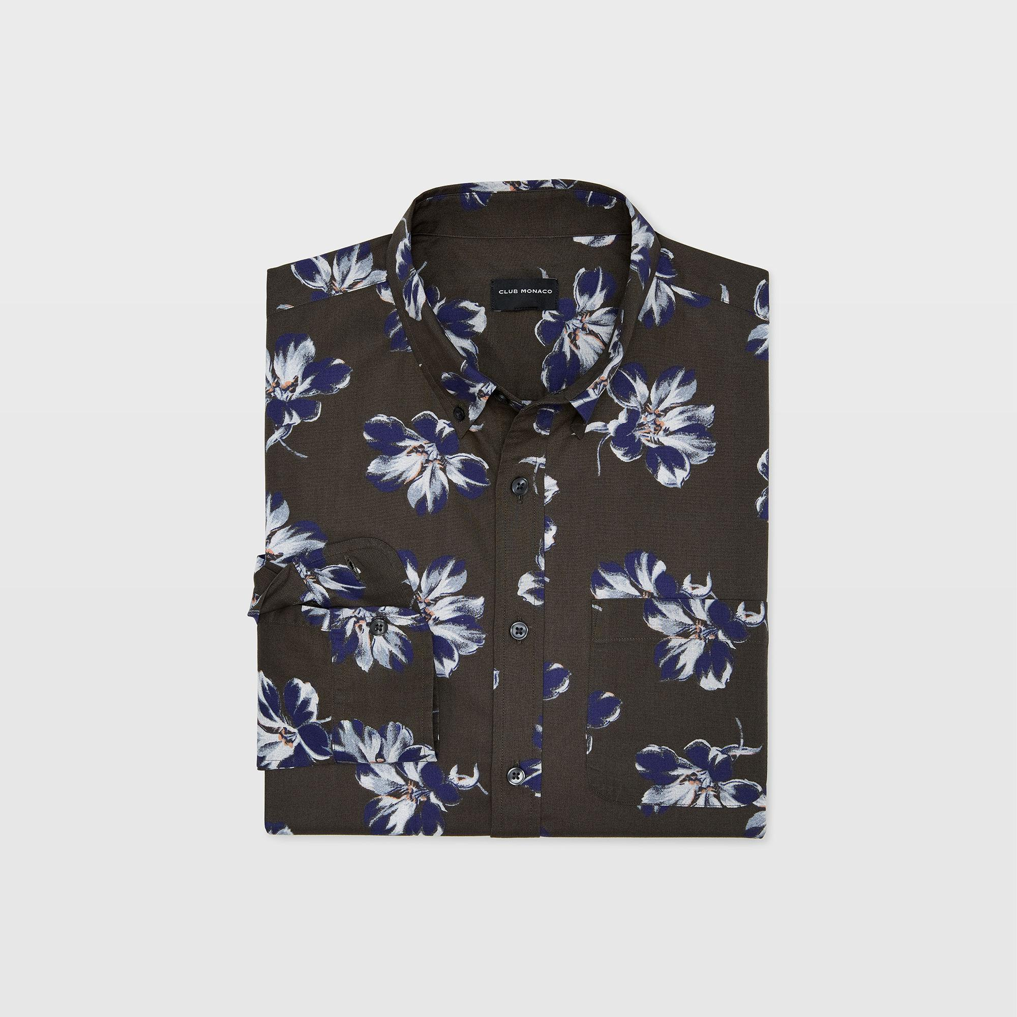 148592957ab Club Monaco - Green Slim Felting Floral Shirt for Men - Lyst. View  fullscreen