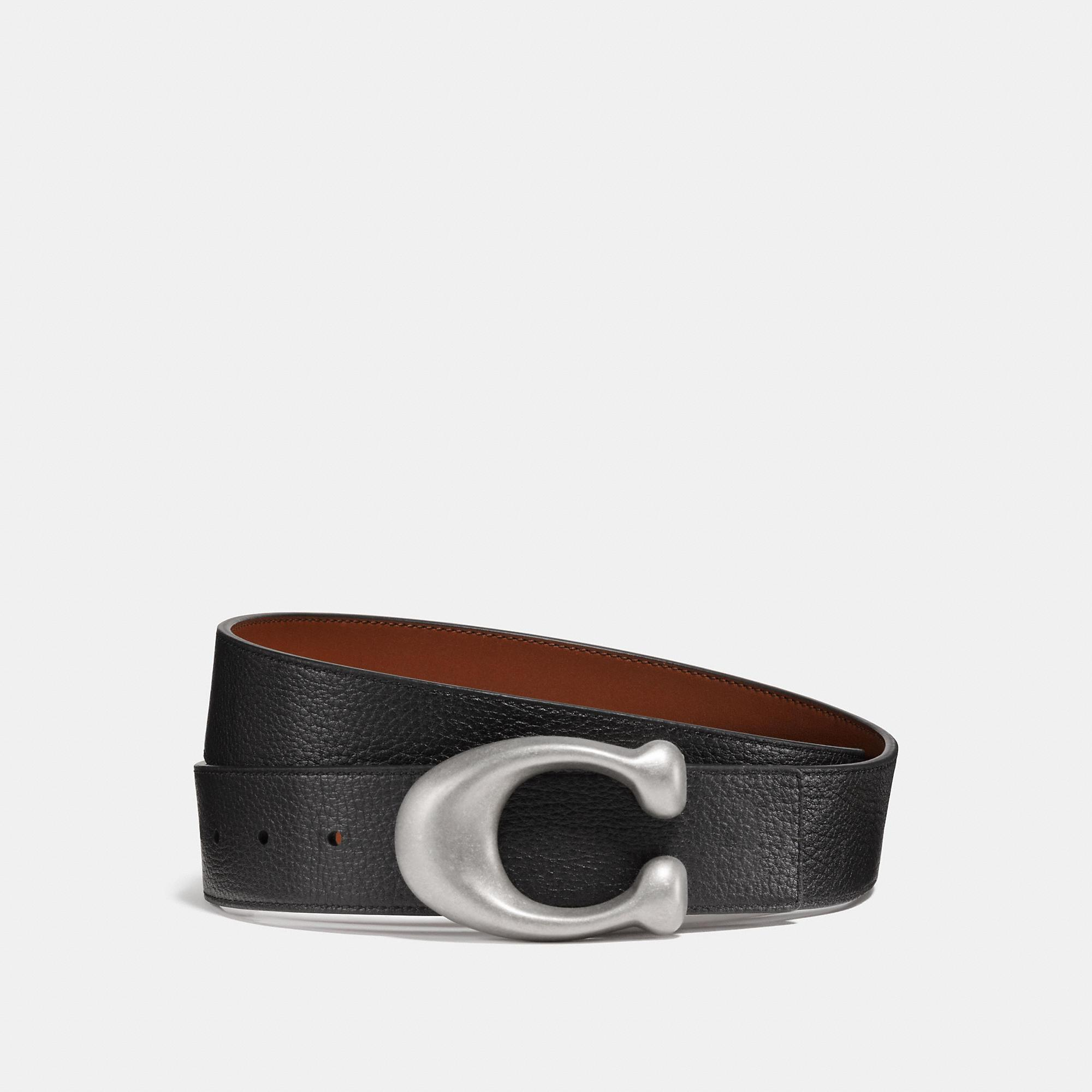 4b37a3e411d5 Lyst - COACH Sculpted Signature Reversible Belt in Black for Men