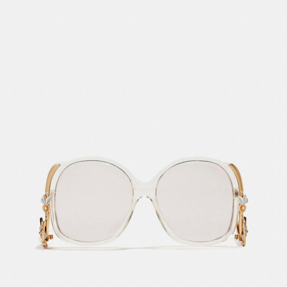 7b5b3f013ef Lyst - COACH Tea Rose Swoopy Sunglasses