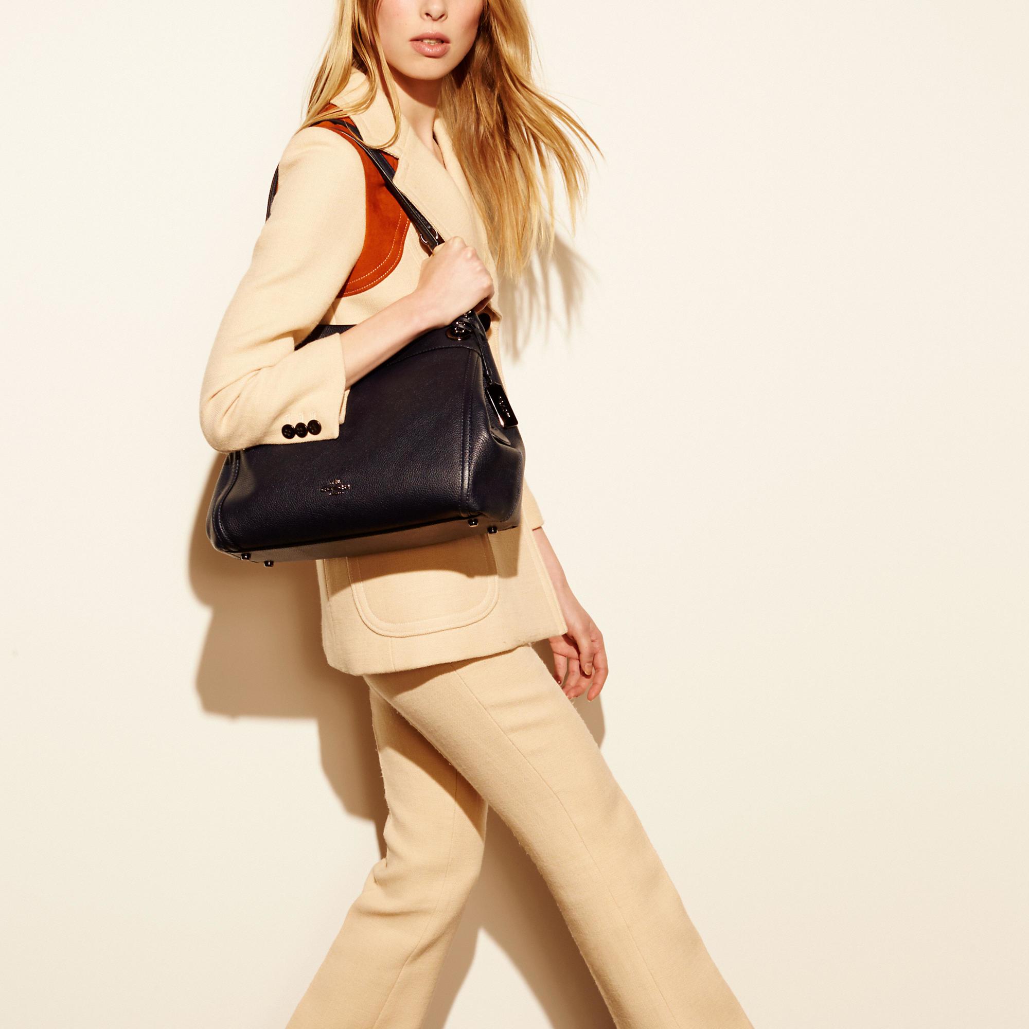 f68feb61 COACH Black Turnlock Edie Shoulder Bag In Polished Pebble Leather