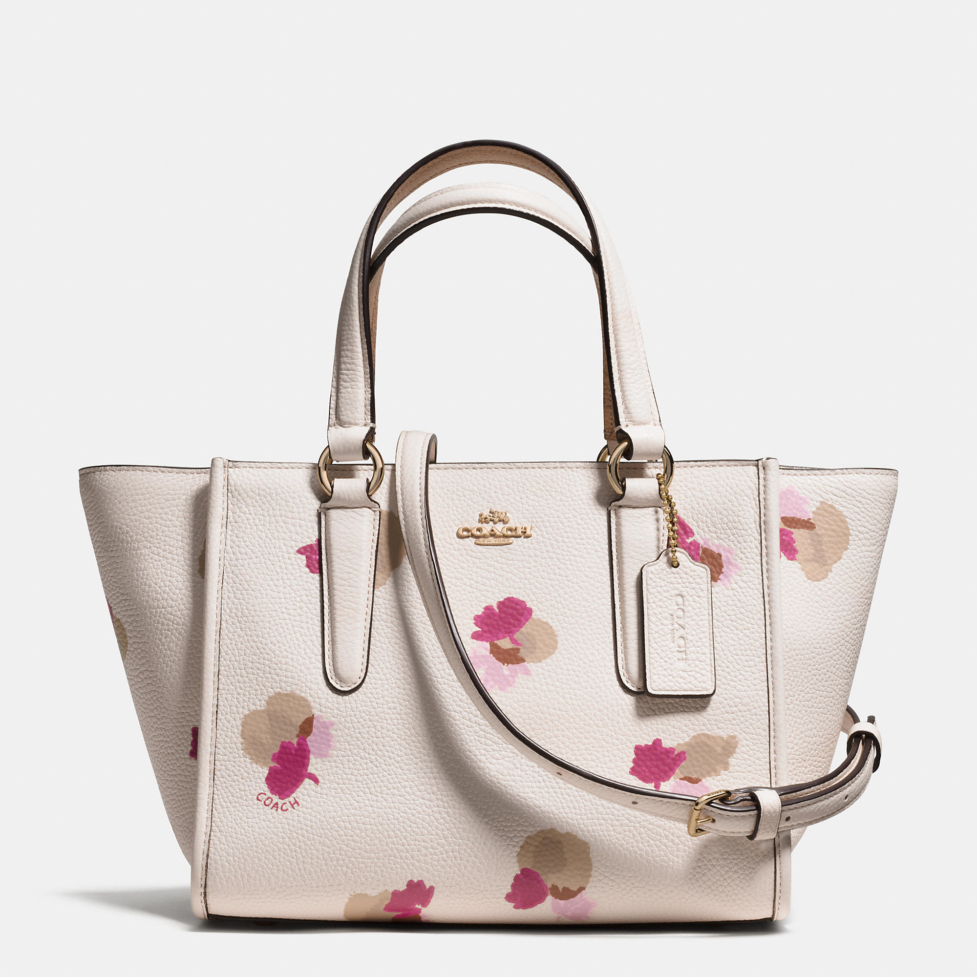 Lyst coach mini crosby carryall in floral print pebble leather gallery mightylinksfo