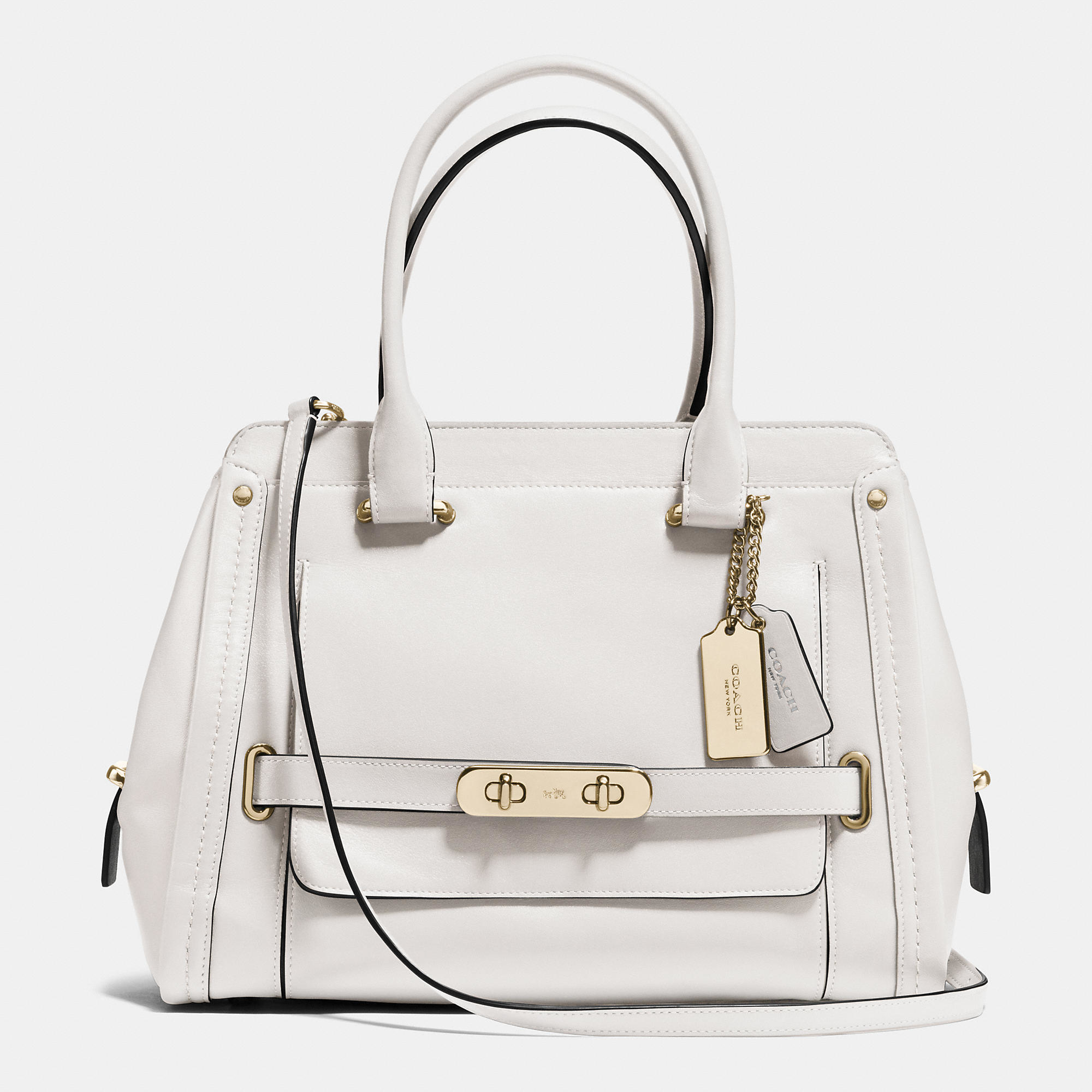 Lyst - Coach Swagger Frame Satchel In Calf Leather in Natural