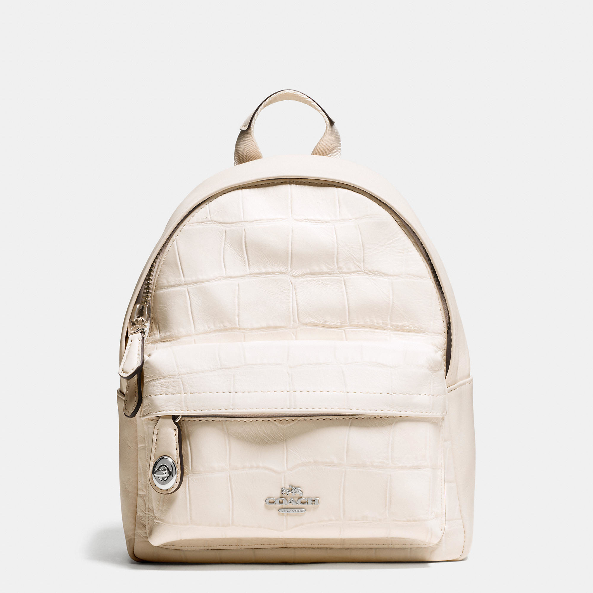 1bacd702f COACH Mini Campus Backpack In Croc Embossed Leather in White - Lyst