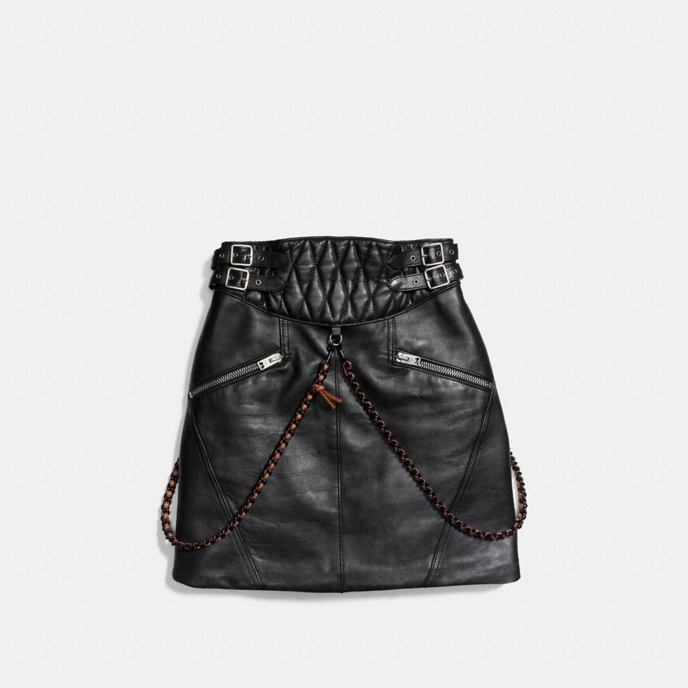 COACH Leather Belted Moto Skirt in Black